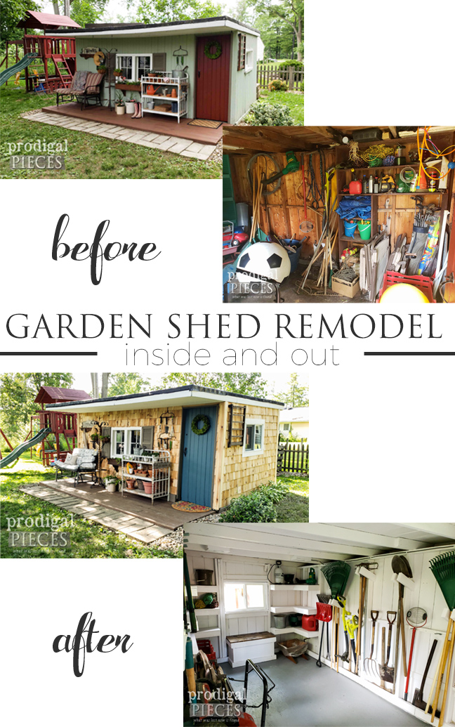 Wow! This garden shed remodel really went from dump to dream. See the full video tour at Prodigal Pieces | prodigalpieces.com #prodigalpieces #diy #home #homedecor #garden #diy