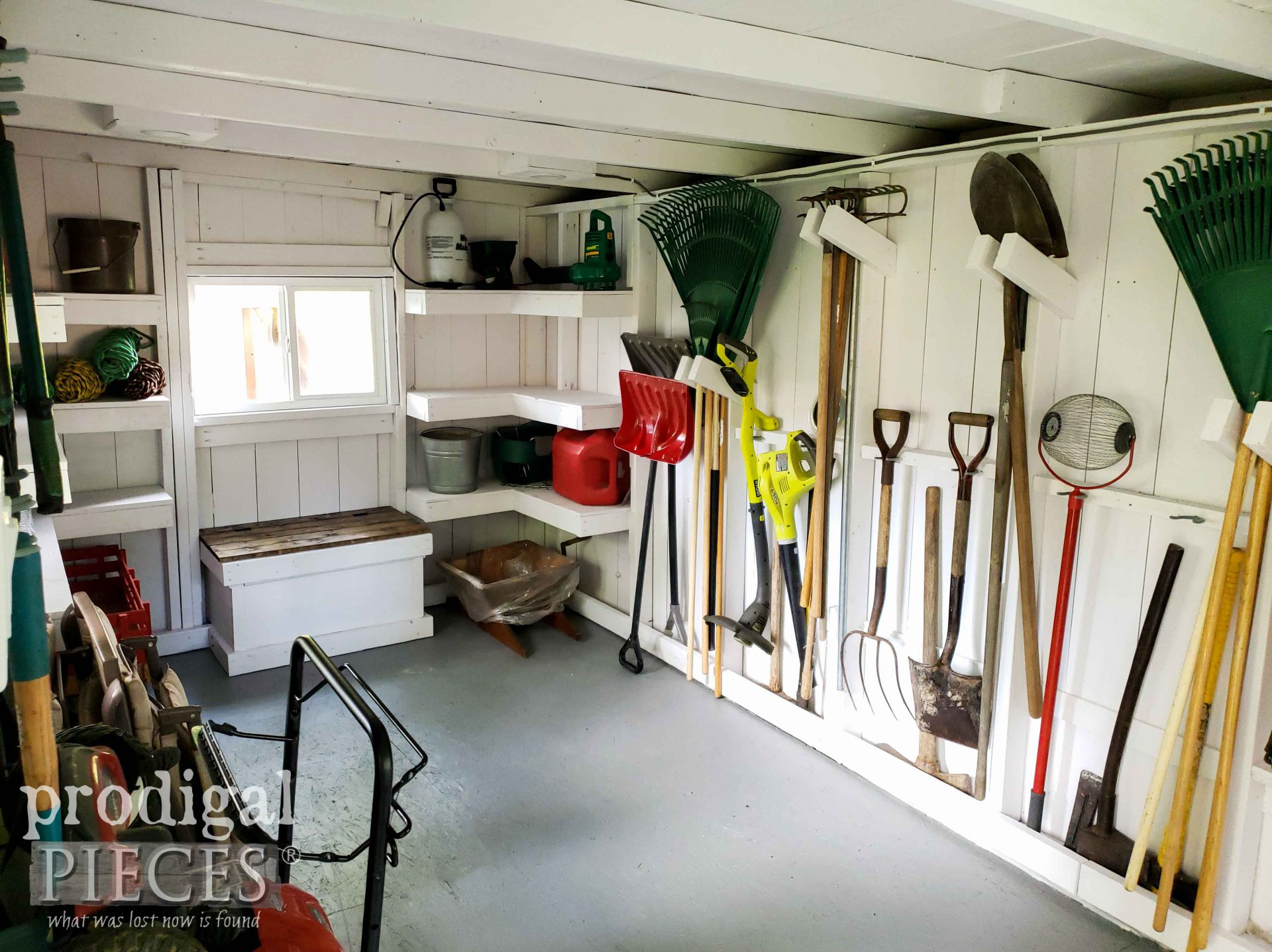 Inside Garden Shed after Remodel by Prodigal Pieces | prodigalpieces.com #prodigalpieces #diy #home #garden