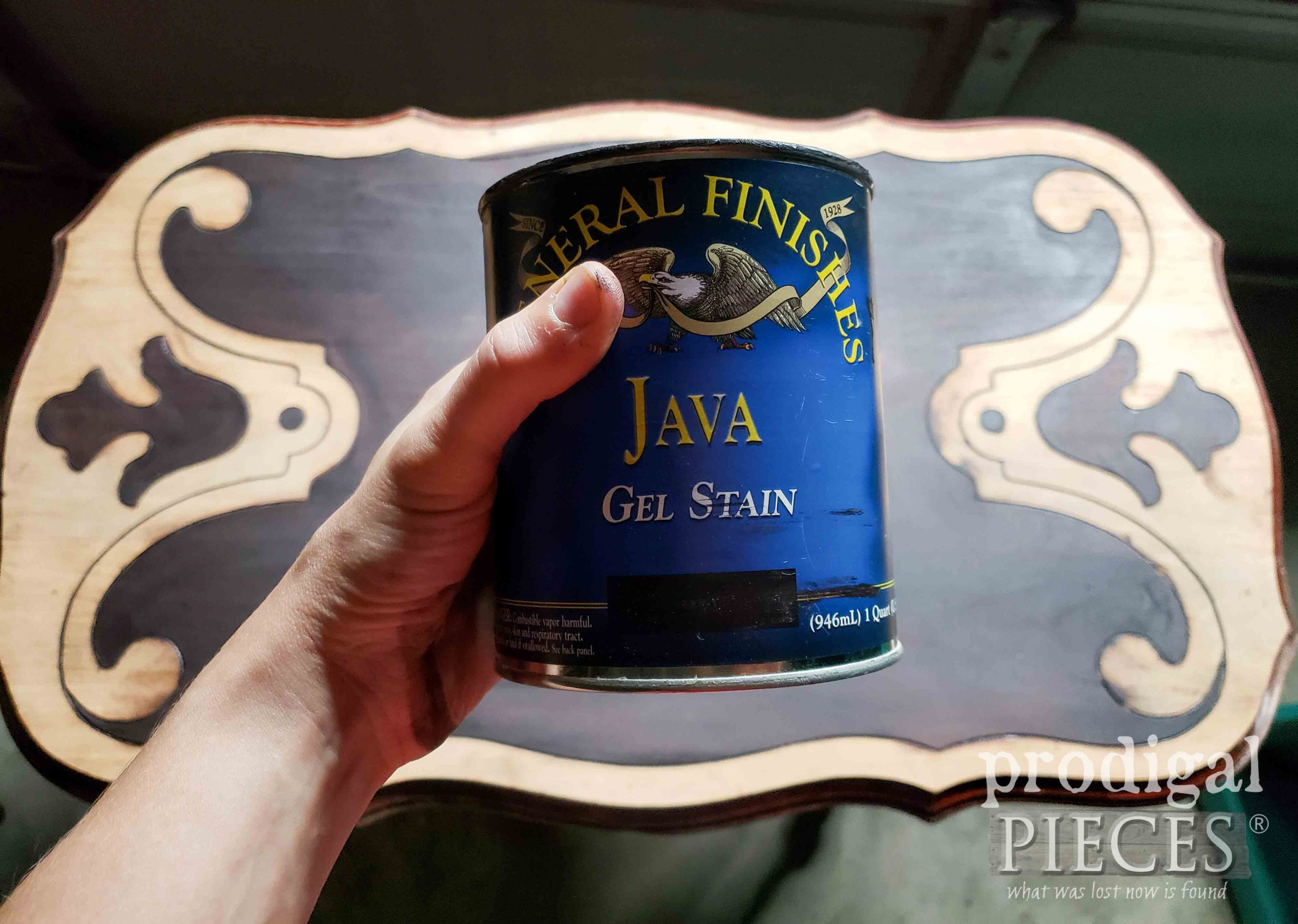 Java Gel Stain for Ornate Antique Table Top | prodigalpieces.com