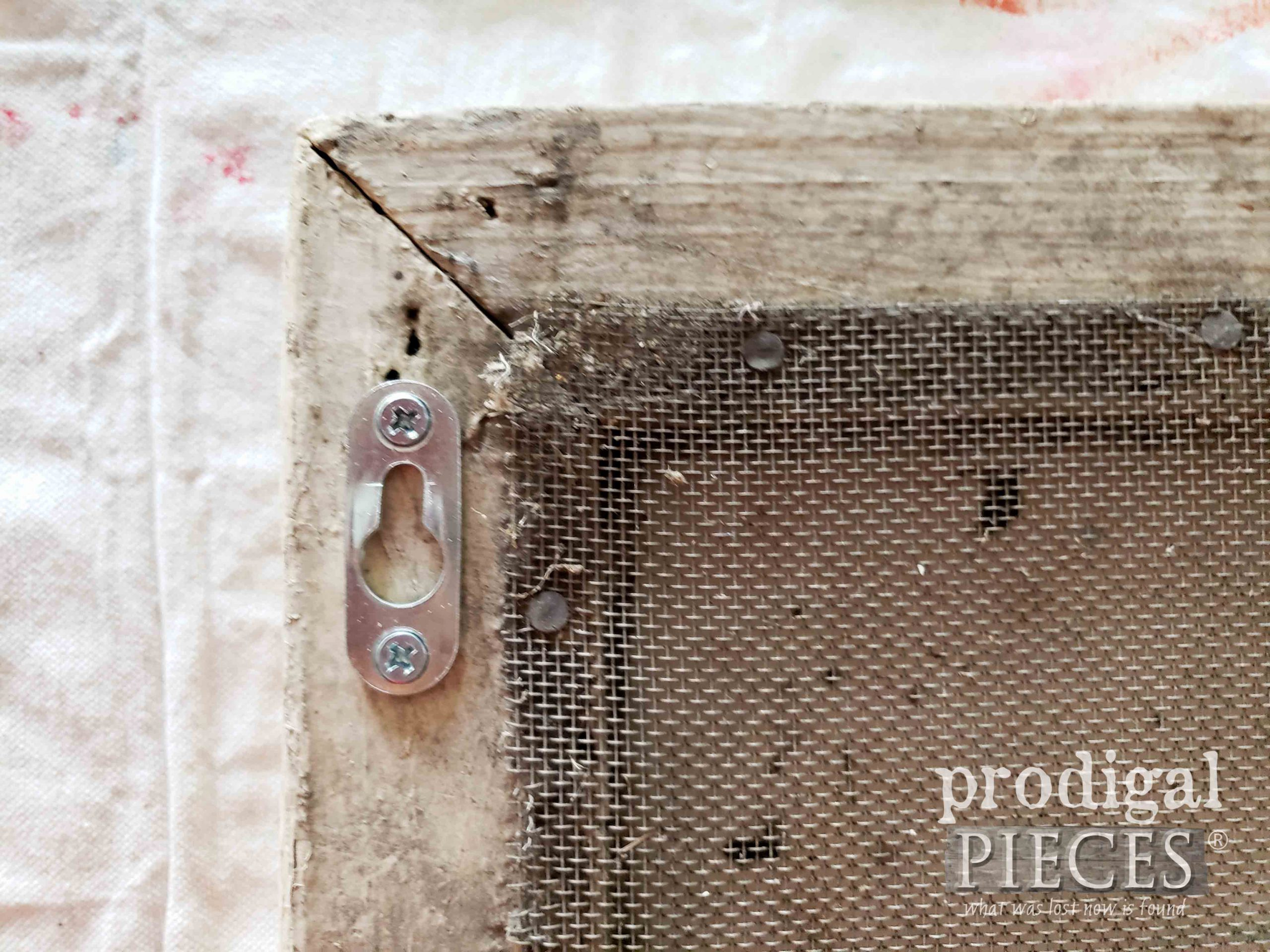Adding Keyhole Hardware to a Reclaimed Window Screen | prodigalpieces.com #prodigalpieces