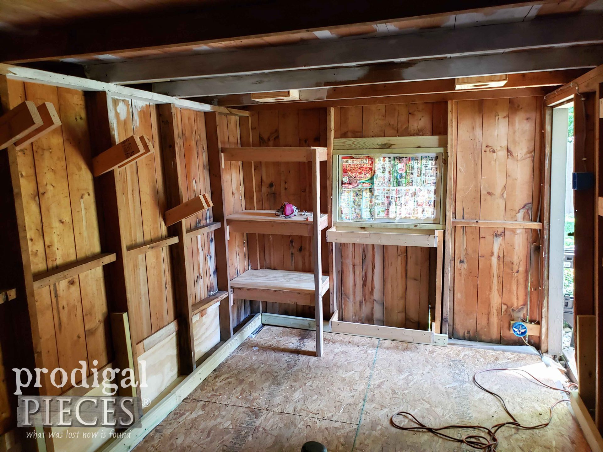 New Shelves in Garden Shed Remodel | prodigalpieces.com