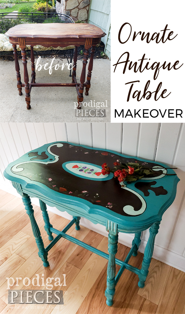 This beat up ornate antique table got the makeover of a lifetime. See the DIY details at Prodigal Pieces | prodigalpieces.com #prodigalpieces #furniture #diy #home #homedecor