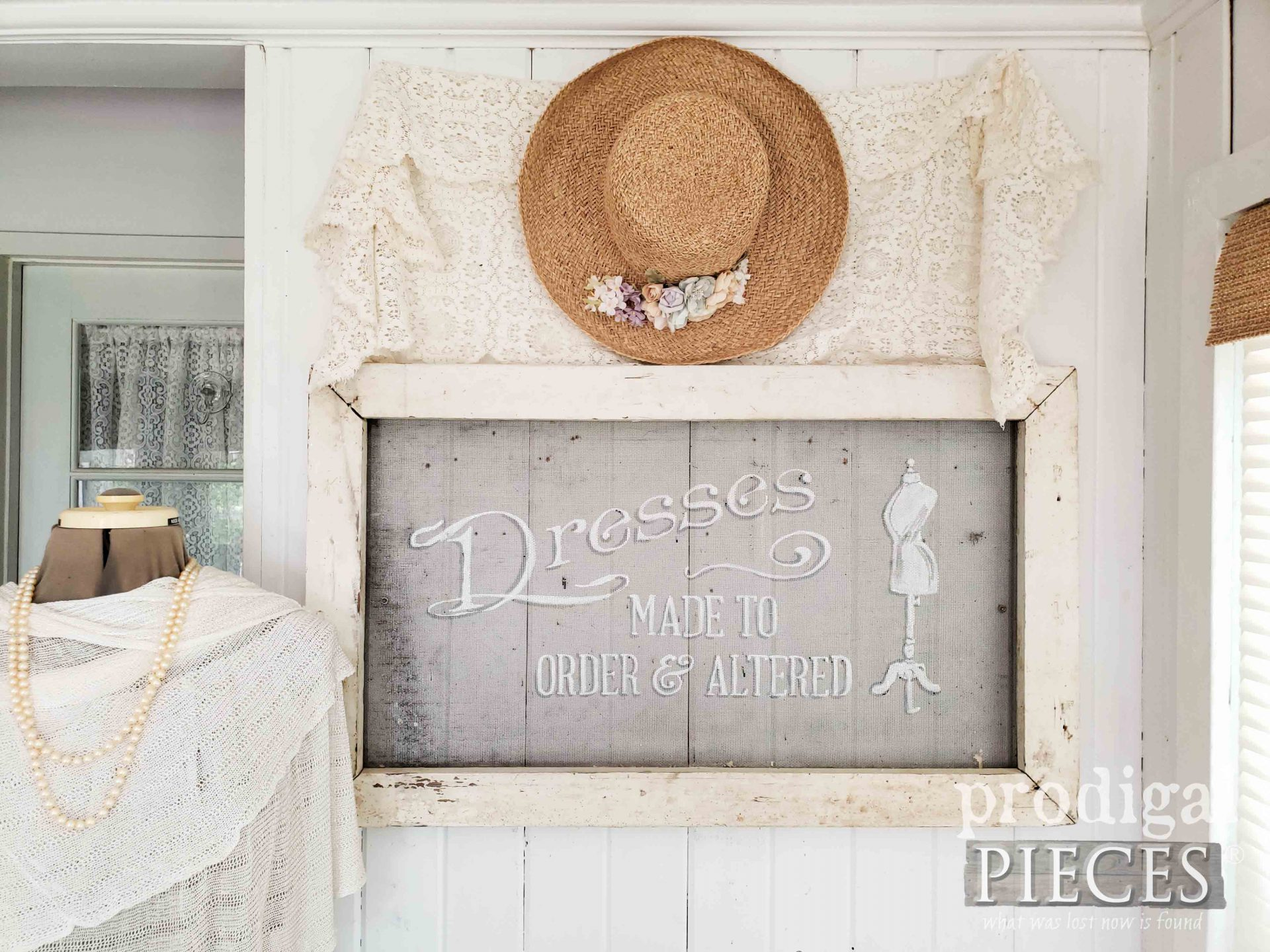 Rustic Painted Window Screen Art Typography with Video Tutorial by Larissa of Prodigal Pieces | prodigalpieces.com #prodigalpieces #diy #farmhouse #salvage #home #homedecor
