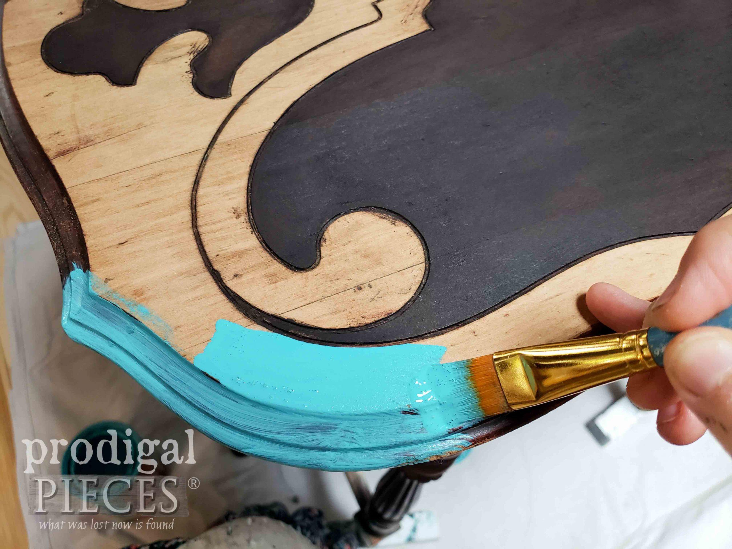 Painting Aqua Accents on Ornate Antique Table by Larissa of Prodigal Pieces | prodigalpieces.com #prodigalpieces