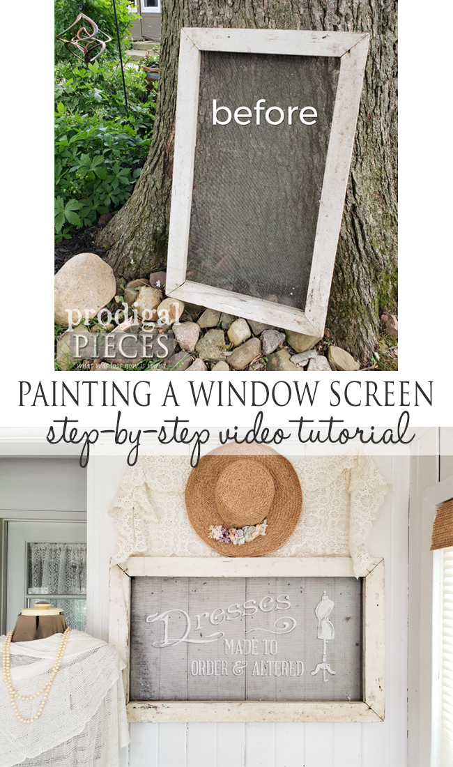 Painting a Window Screen is fun, easy, and inspirational. Follow this step-by-step video tutorial by Larissa of Prodigal Pieces | prodigalpieces.com #prodigalpieces #diy #home #farmhouse #upcycled #homedecor