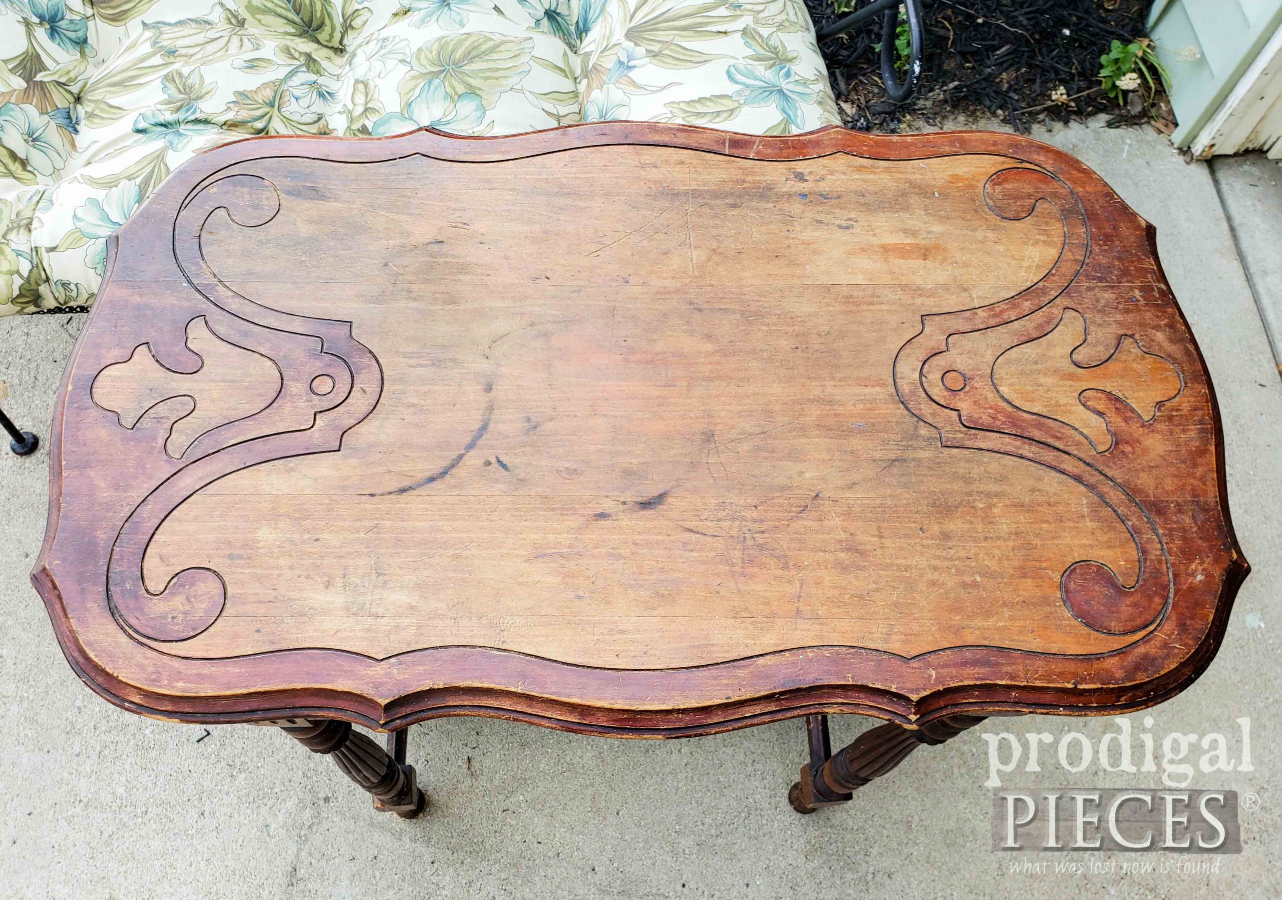Scrollwork Table Top Before Makeover | prodigalpieces.com