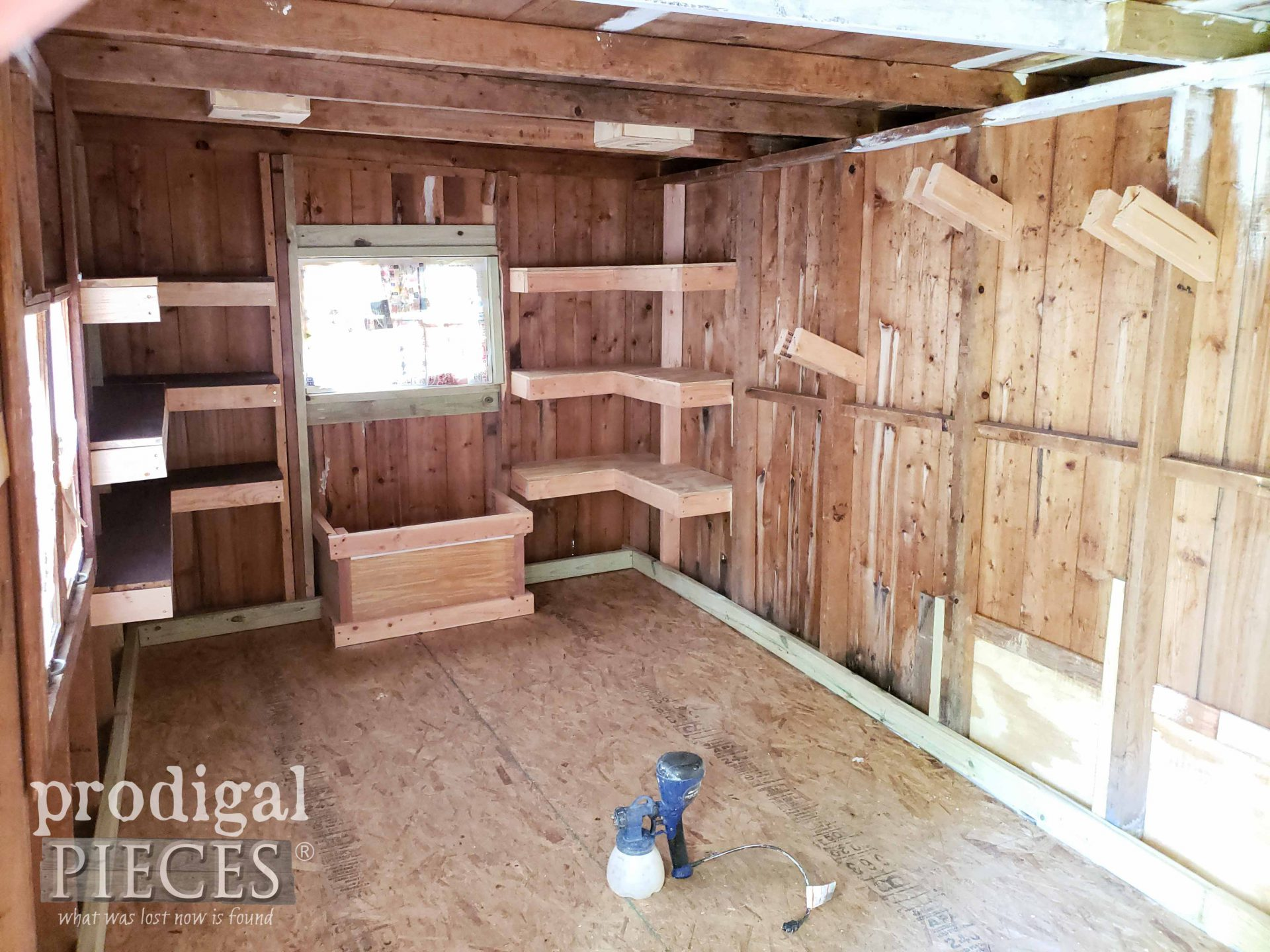 Garden Shed Interior Before Paint | prodigalpieces.com