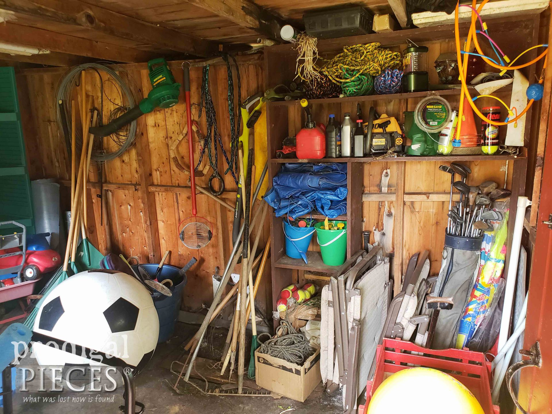 Garden Shed Remodel Mess Before | prodigalpieces.com