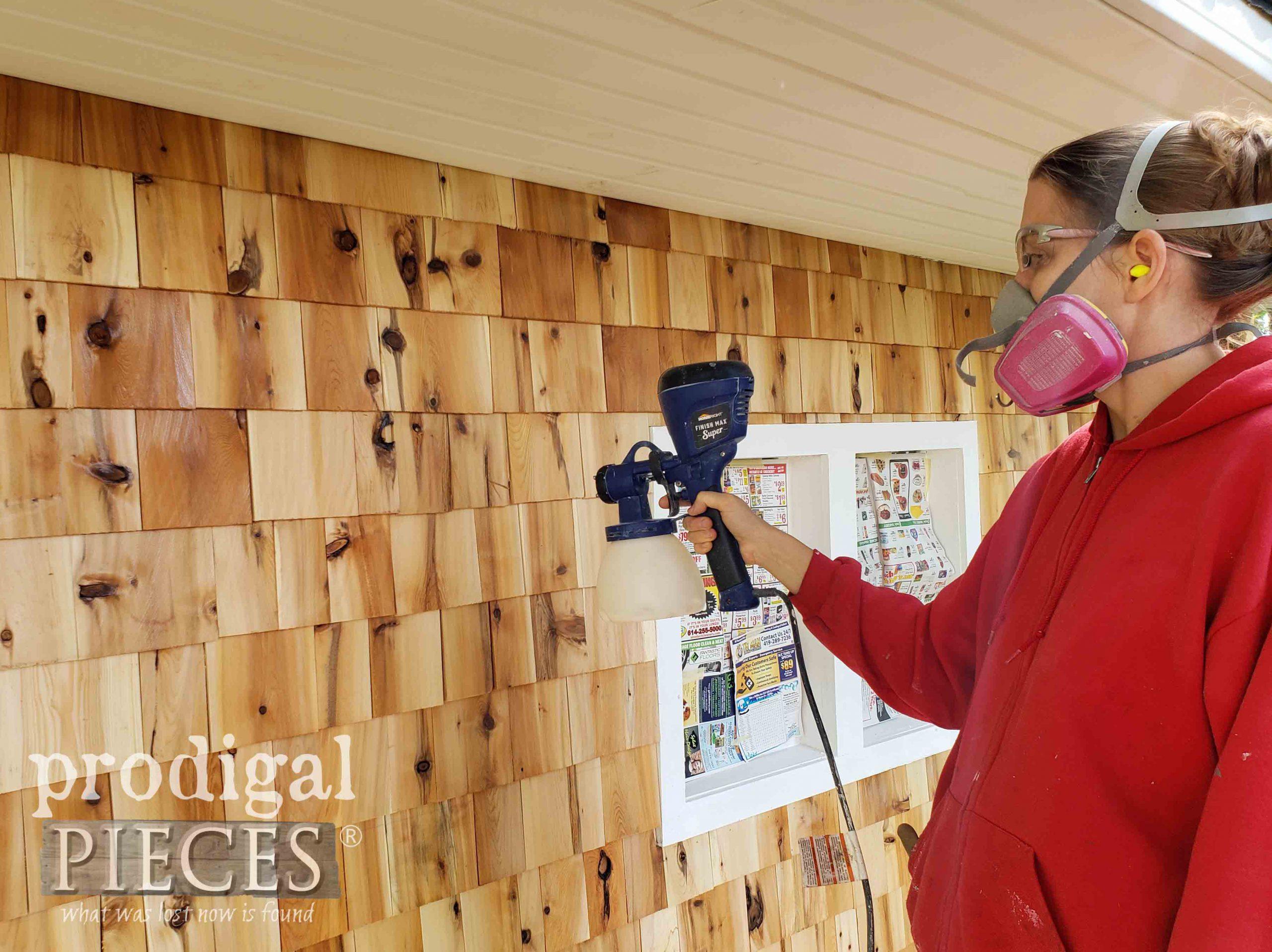 Spraying Cedar Shake Siding with Topcoat | prodigalpieces.com #prodigalpieces