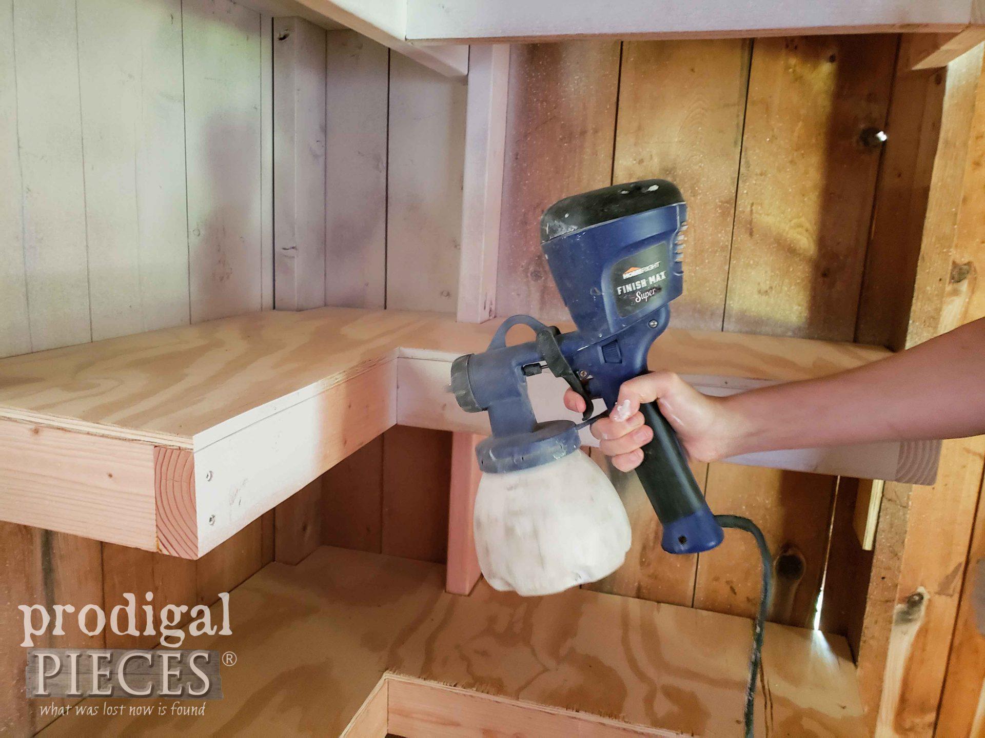 Spraying Shed Shelves with HomeRight Super Finish Max Extra Sprayer | prodigalpieces.com #prodigalpieces
