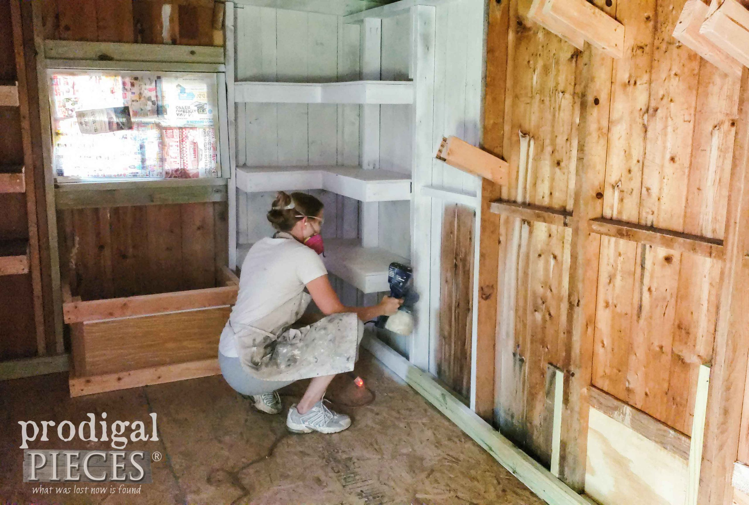 Spray Painting Garden Shed Walls | prodigalpieces.com #prodigalpieces