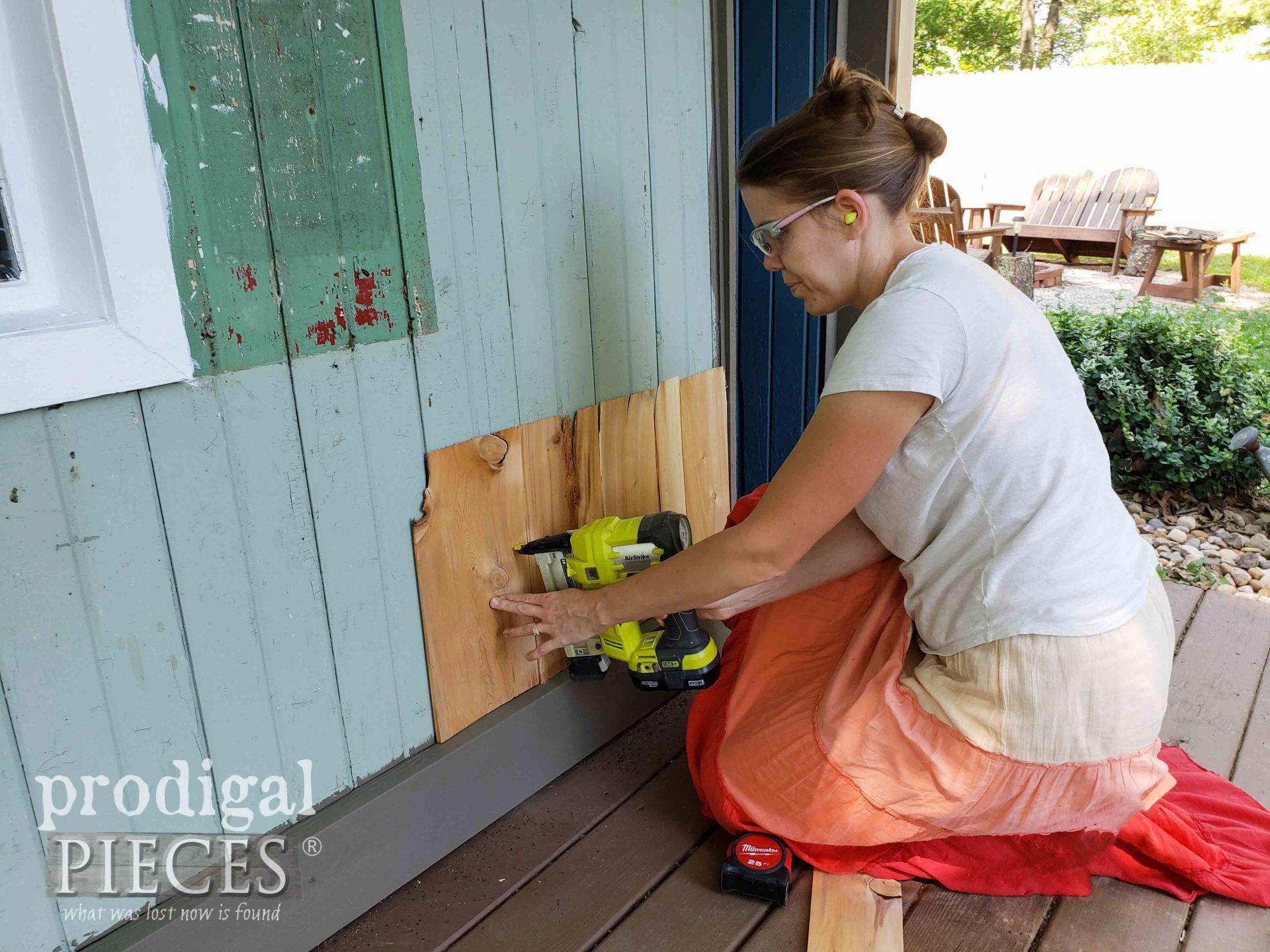 Stapling Cedar Shake Siding to Garden Shed | prodigalpieces.com