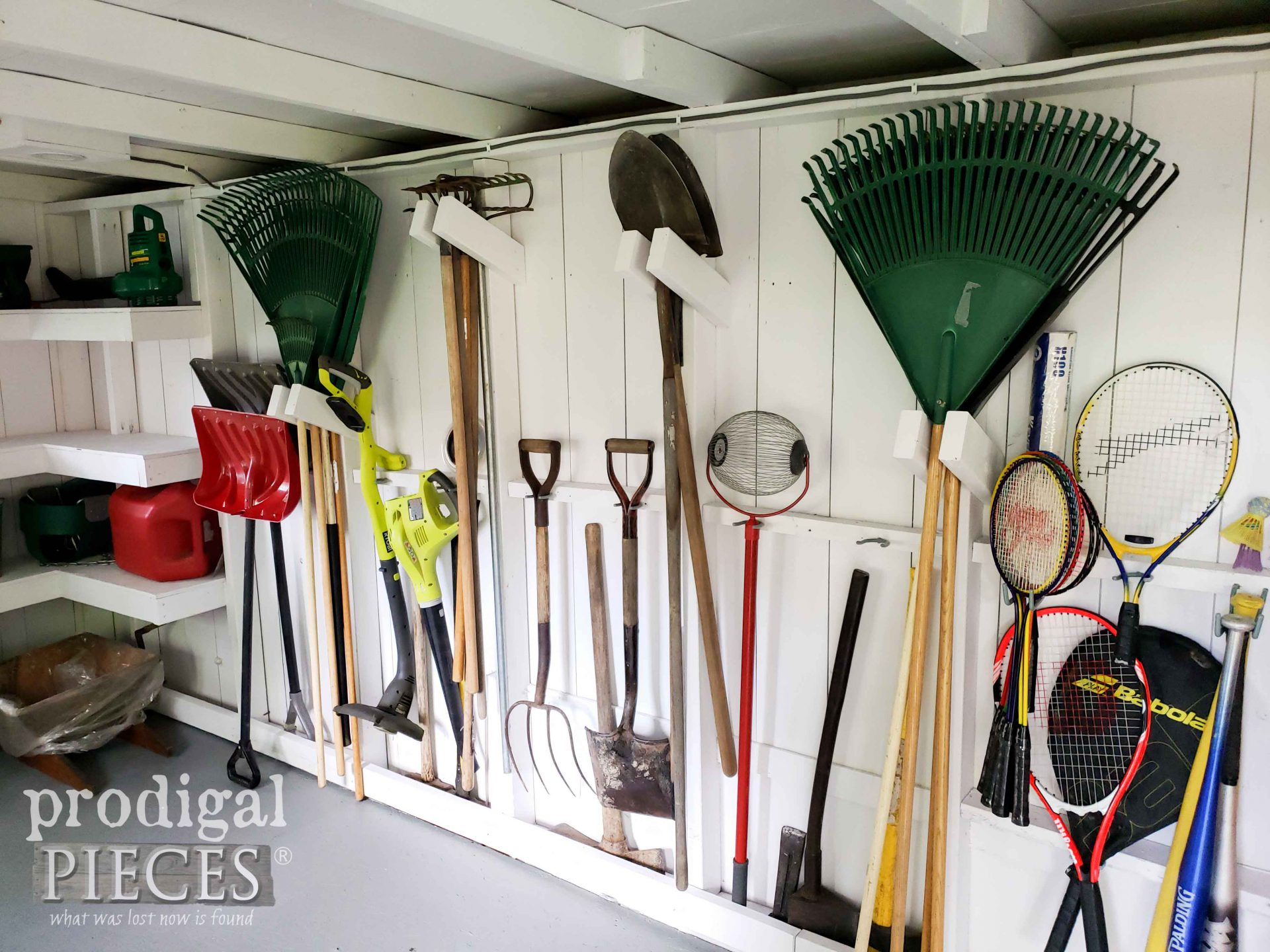 Tool Storage in Garden Shed by Prodigal Pieces | prodigalpieces.com #prodigalpieces #diy #home #garden