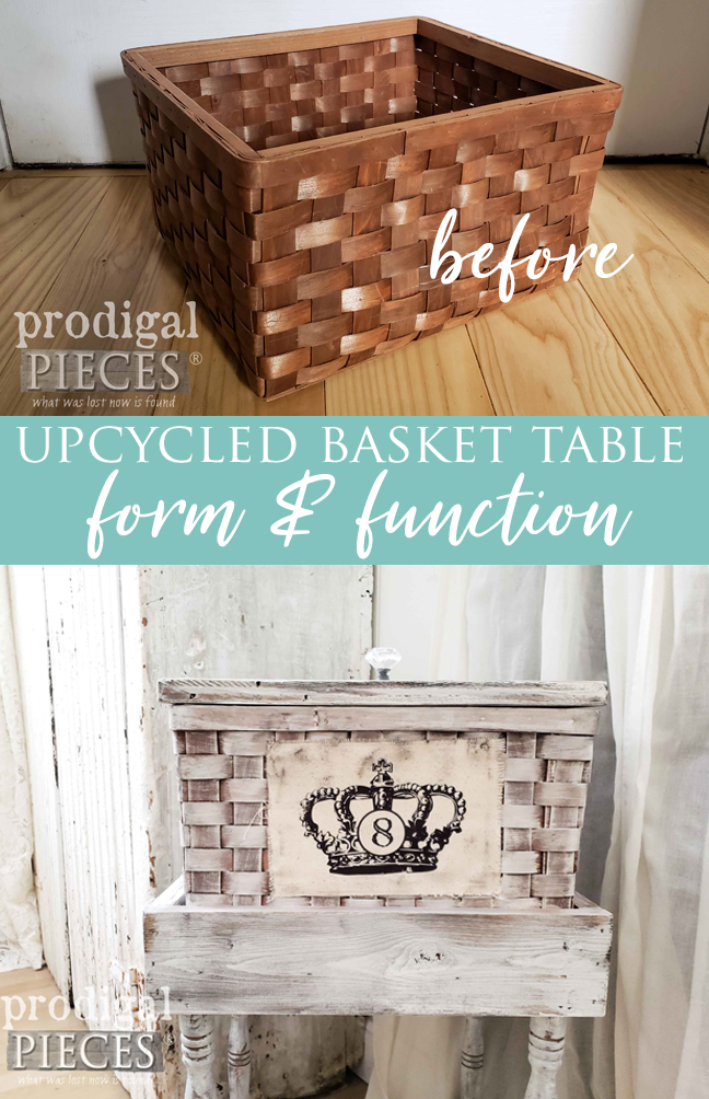Upcycled Basket Table with Extra Storage and Mobility by Larissa of Prodigal Pieces | prodigalpieces.com #prodigalpieces #diy #home #homedecor #farmhouse