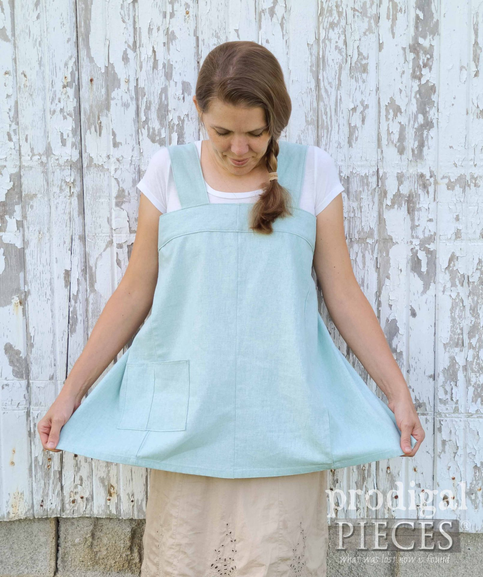 Aqua Blue Handmade Linen Smock from Refashioned Pants by Larissa of Prodigal Pieces | prodigalpieces.com #prodigalpieces #sewing #refashion #fashion #style #women