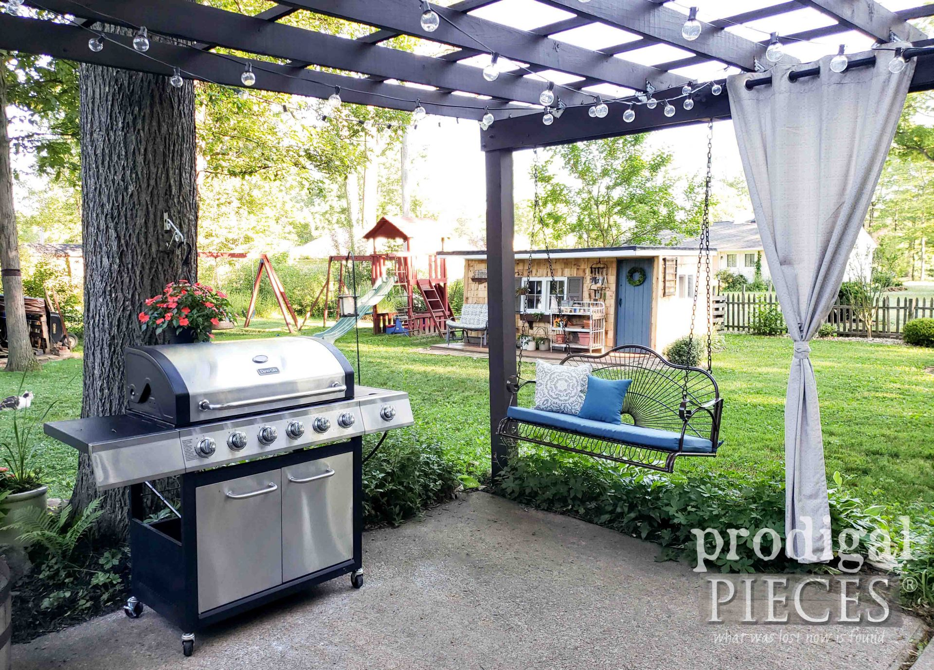 Backyard Patio with DIY Garden Shed by Prodigal Pieces | prodigalpieces.com #prodigalpieces #diy #home #patio #homedecor #backyard