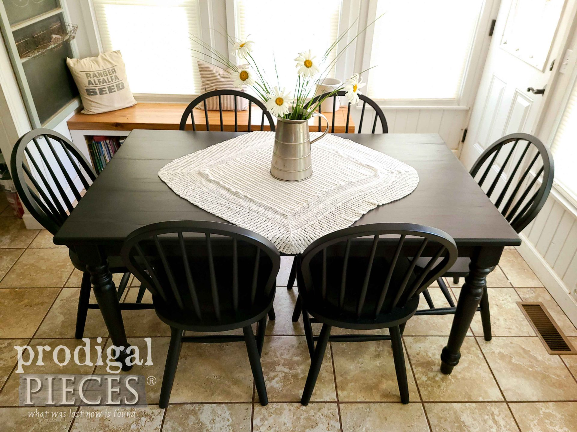 Black Farmhouse Dining Table with Windsor Chairs by Larissa of Prodigal Pieces | prodigalpieces.com #prodigalpieces #dining #farmhouse #home #homedecor #farmhouse
