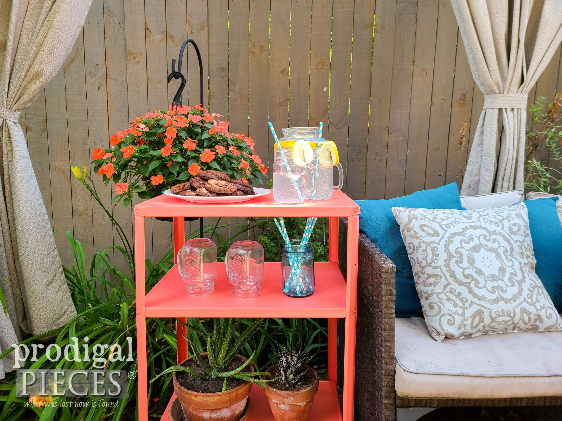 Coral Color Vintage Serving Cart Makeover by Larissa of Prodigal Pieces | prodigalpieces.com #prodigalpieces #vintage #furniture #home #homedecor