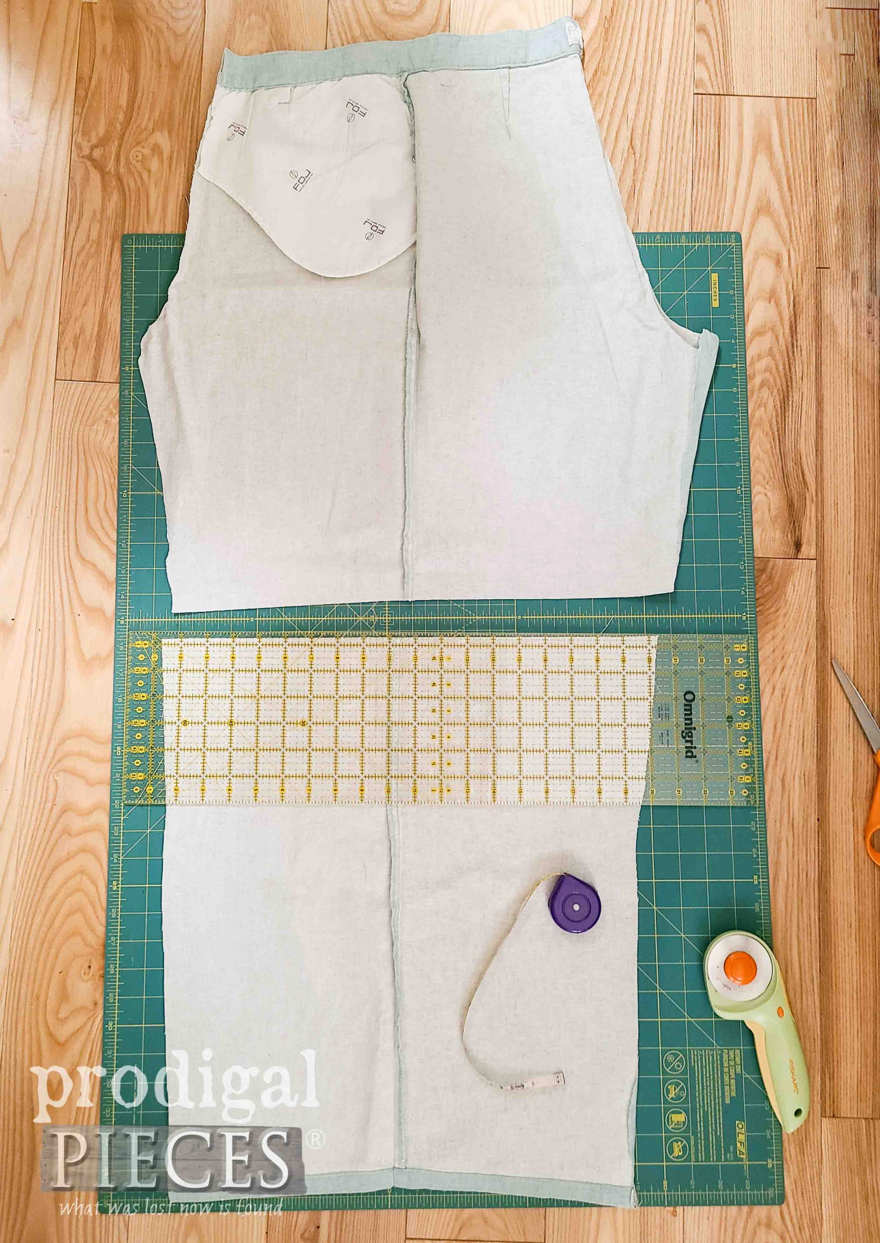 Cutting Smock Skirt from Upcycled Linen Pants | prodigalpieces.com