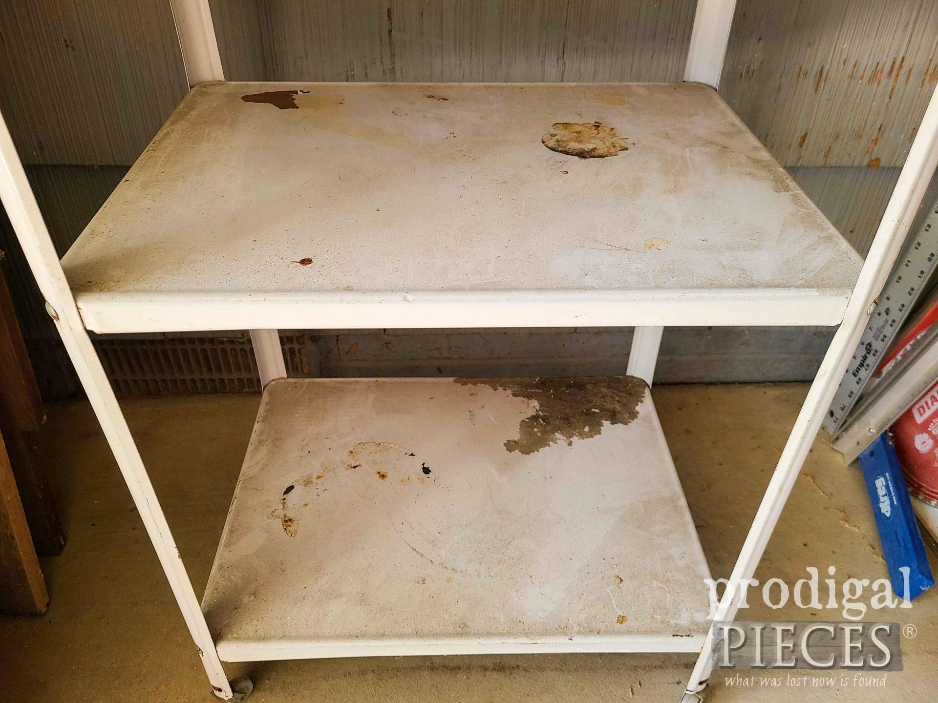Damaged Vintage Serving Cart Bottom | prodigalpieces.com