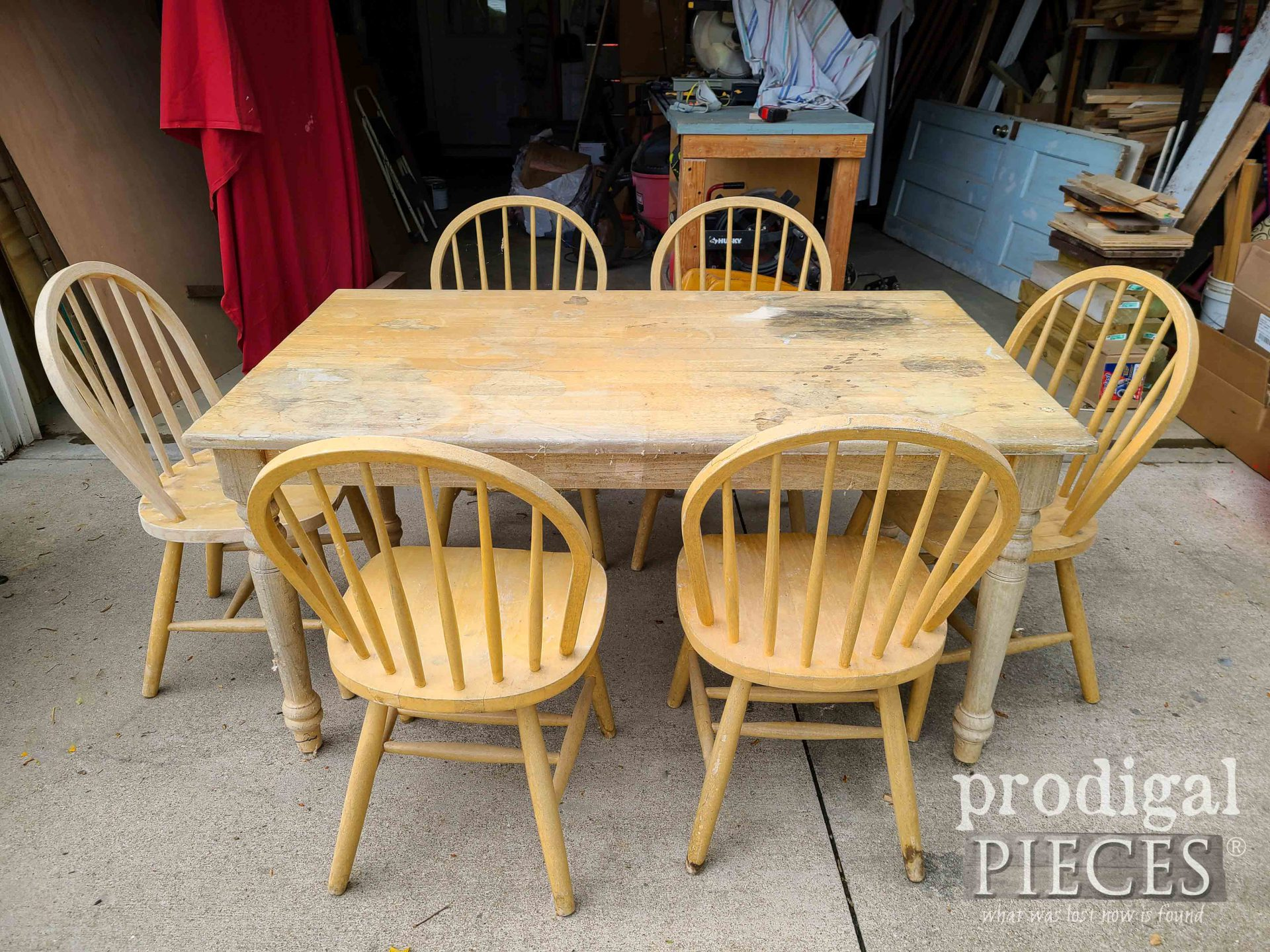 Damaged Farmhouse Dining Table Before Makeover by Prodigal Pieces | prodigalpieces.com #prodigalpieces