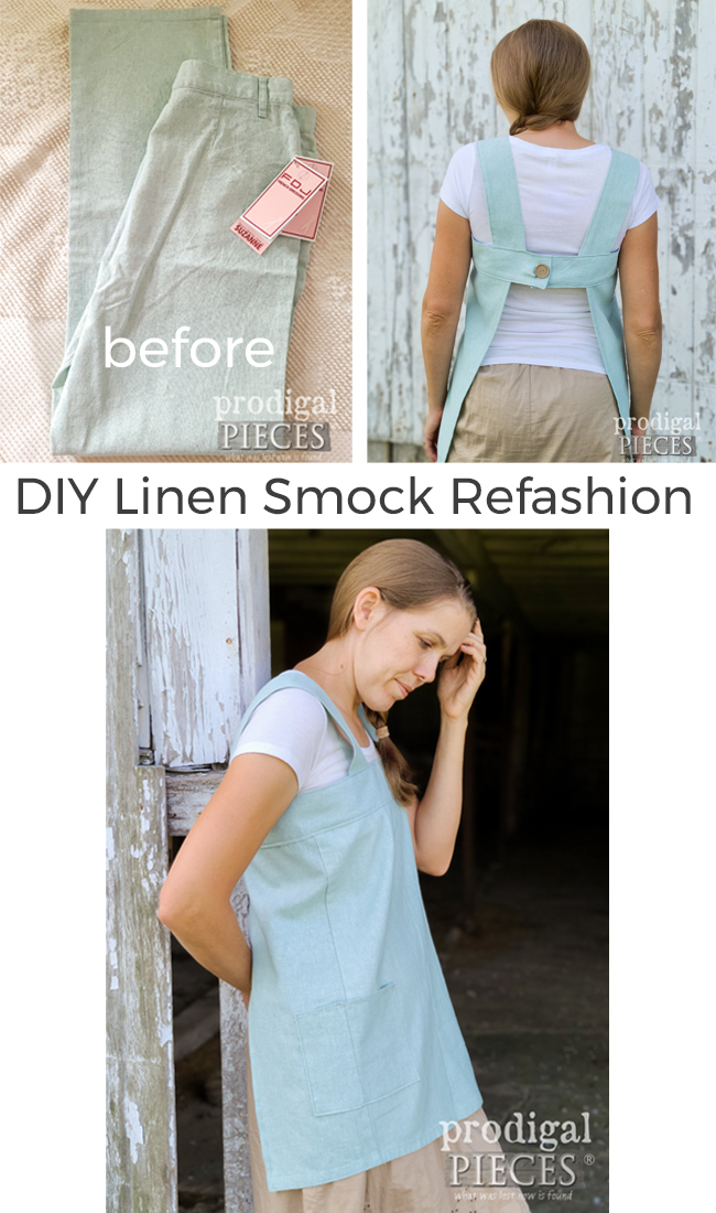 A thrifted pair of pants gets refashioned into a DIY Linen Smock by Larissa of Prodigal Pieces | Head to prodigalpieces.com to see the steps | #prodigalpieces #diy #refashion #clothing #style #women #linen #handmade #farmhouse