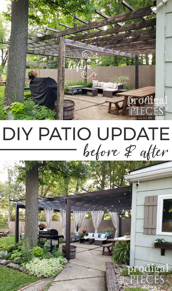 What a difference! This DIY Patio & Pergola Update Refreshes and Dresses up this backyard retreat | Details at Prodigal Pieces | prodigalpieces.com #prodigalpieces #diy #home #homedecor #patio #pergola #backyard