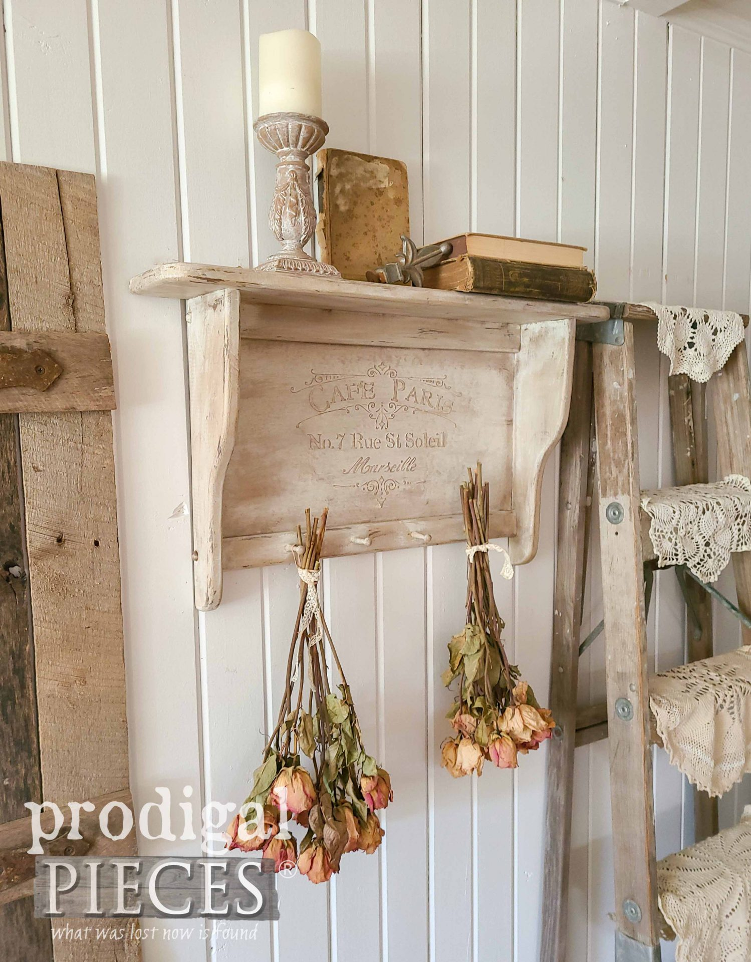 DIY Vintage Shelf Update with Embossing Using a Stencil by Larissa of Prodigal Pieces | Video tutorial at prodigalpieces.com #prodigalpieces #diy #home #homedecor #vintage