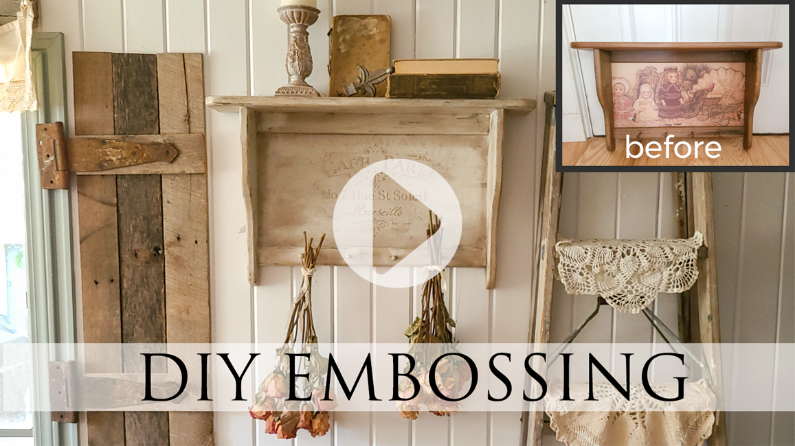 DIY Embossing Vintage Shelf Tutorial by Larissa of Prodigal Pieces | prodigalpieces.com #prodigalpieces