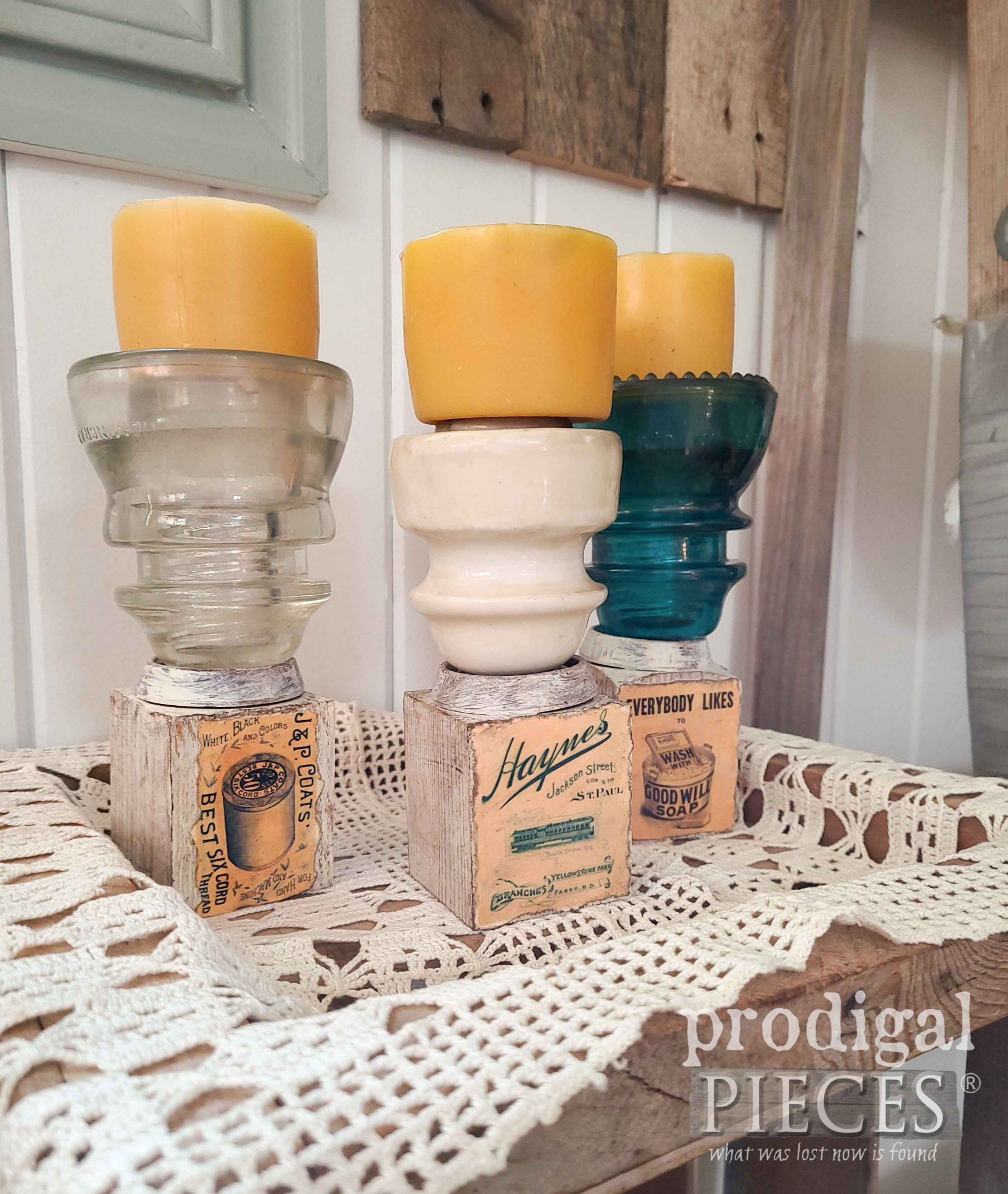 Farmhouse Candle Holders made with Upcycled Antique Insulators by Larissa of Prodigal Pieces | prodigalpieces.com #prodigalpieces #diy #handmade #farmhouse #upcycled #home #homedecor