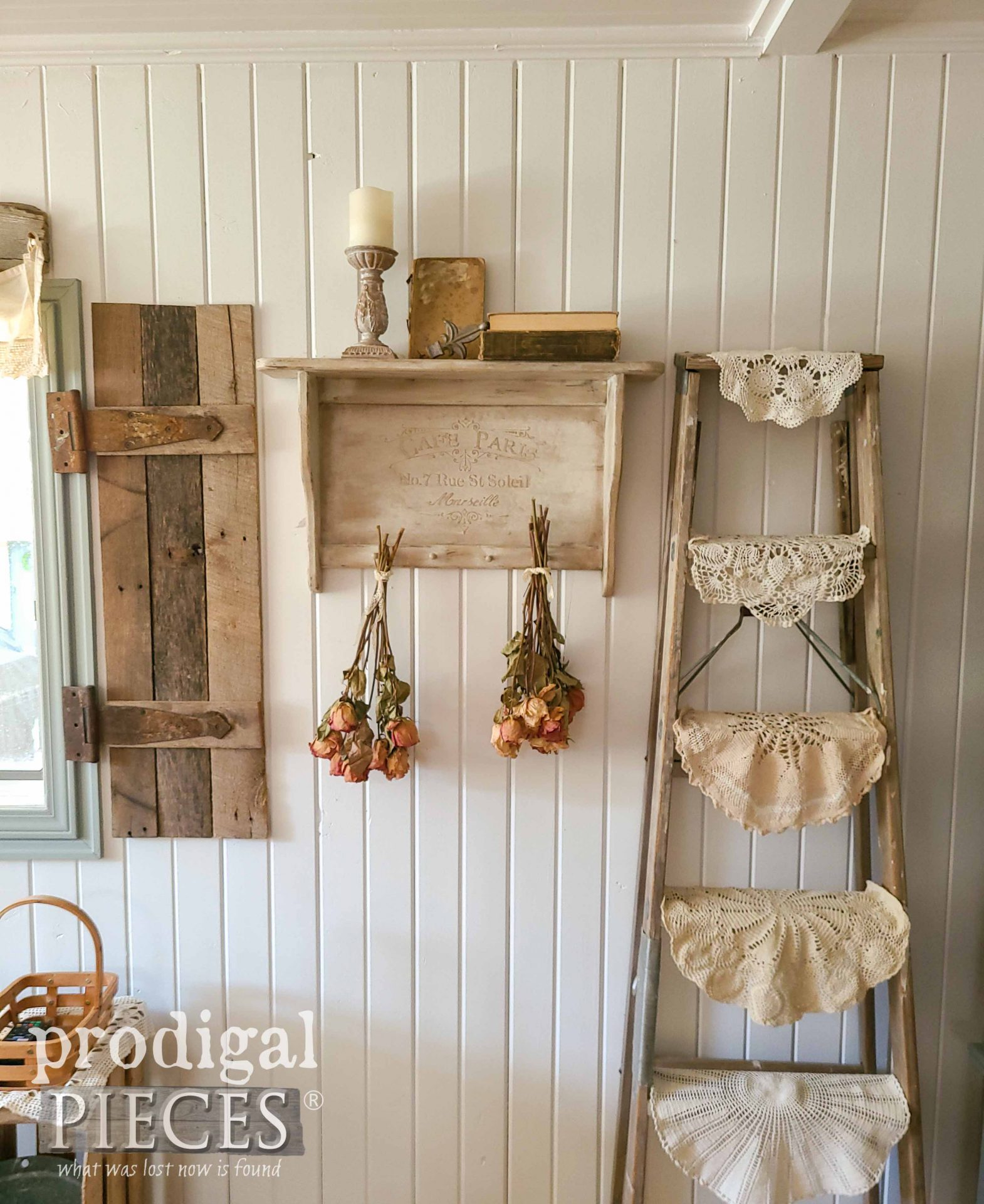 Farmhouse Chic Shelf with DIY Embossing by Larissa of Prodigal Pieces | prodigalpieces.com #prodigalpieces #farmhouse #diy #home #homedecor