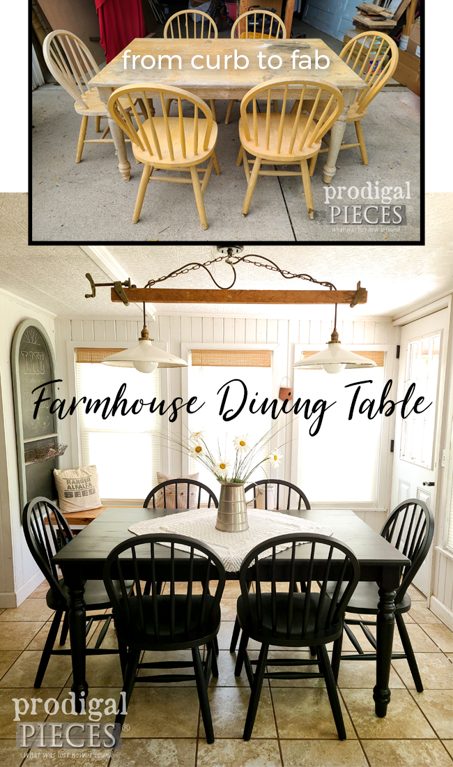Wow! This farmhouse dining table was left on the curb and is not as it should be...FAB! See the DIY tutorial at Prodigal Pieces | prodigalpieces.com #prodigalpieces #farmhouse #diy #home #homedecor