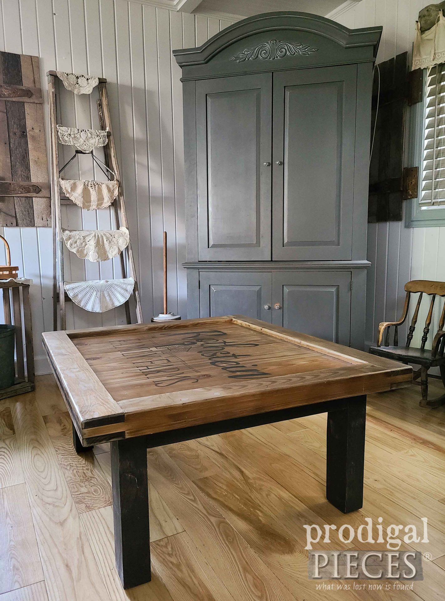 Farmhouse Living Room with Reclaimed Coffee Table by Larissa of Prodigal Pieces   prodigalpieces.com #prodigalpieces #livingroom #diy #woodworking #