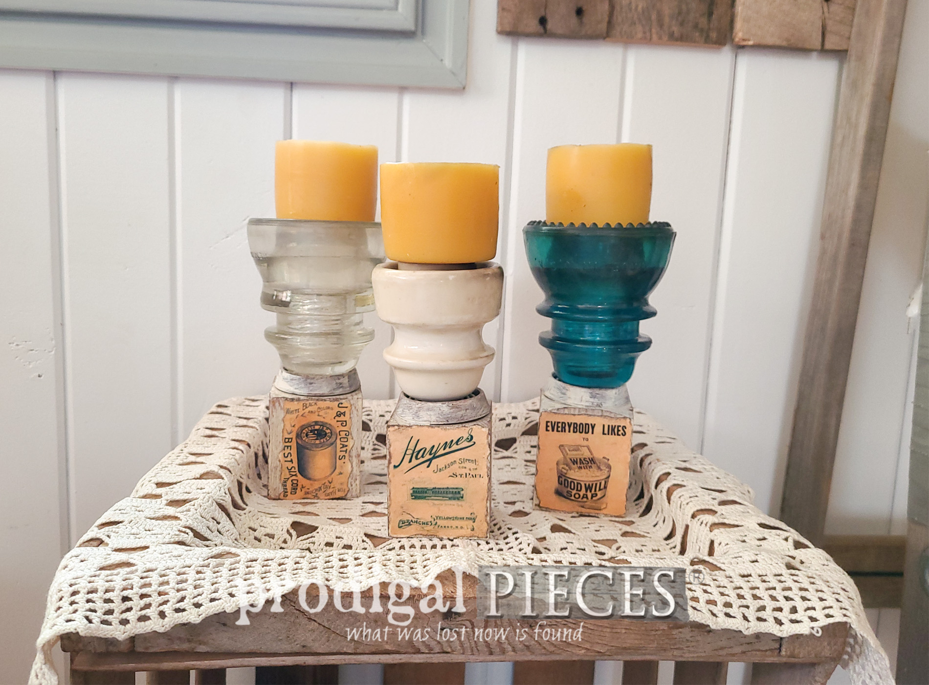 Featured Upcycled Antique Insulator Candle Holders by Larissa of Prodigal Pieces | prodigalpieces.com #prodigalpieces #diy #farmhouse #reclaimed #salvage #art #candles