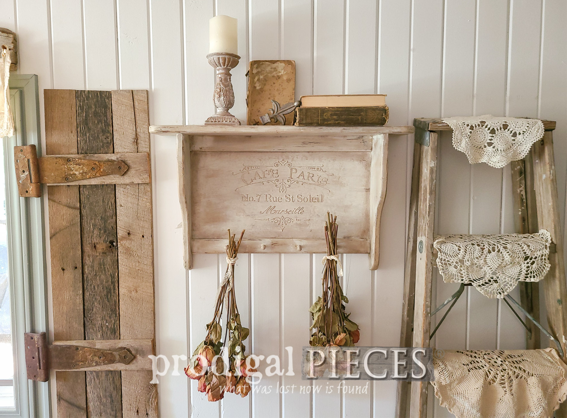 Featured Vintage Shelf Update with DIY Embossing by Larissa of Prodigal Pieces | prodigalpieces.com #prodigalpieces #diy #home #homedecor #farmhouse #french