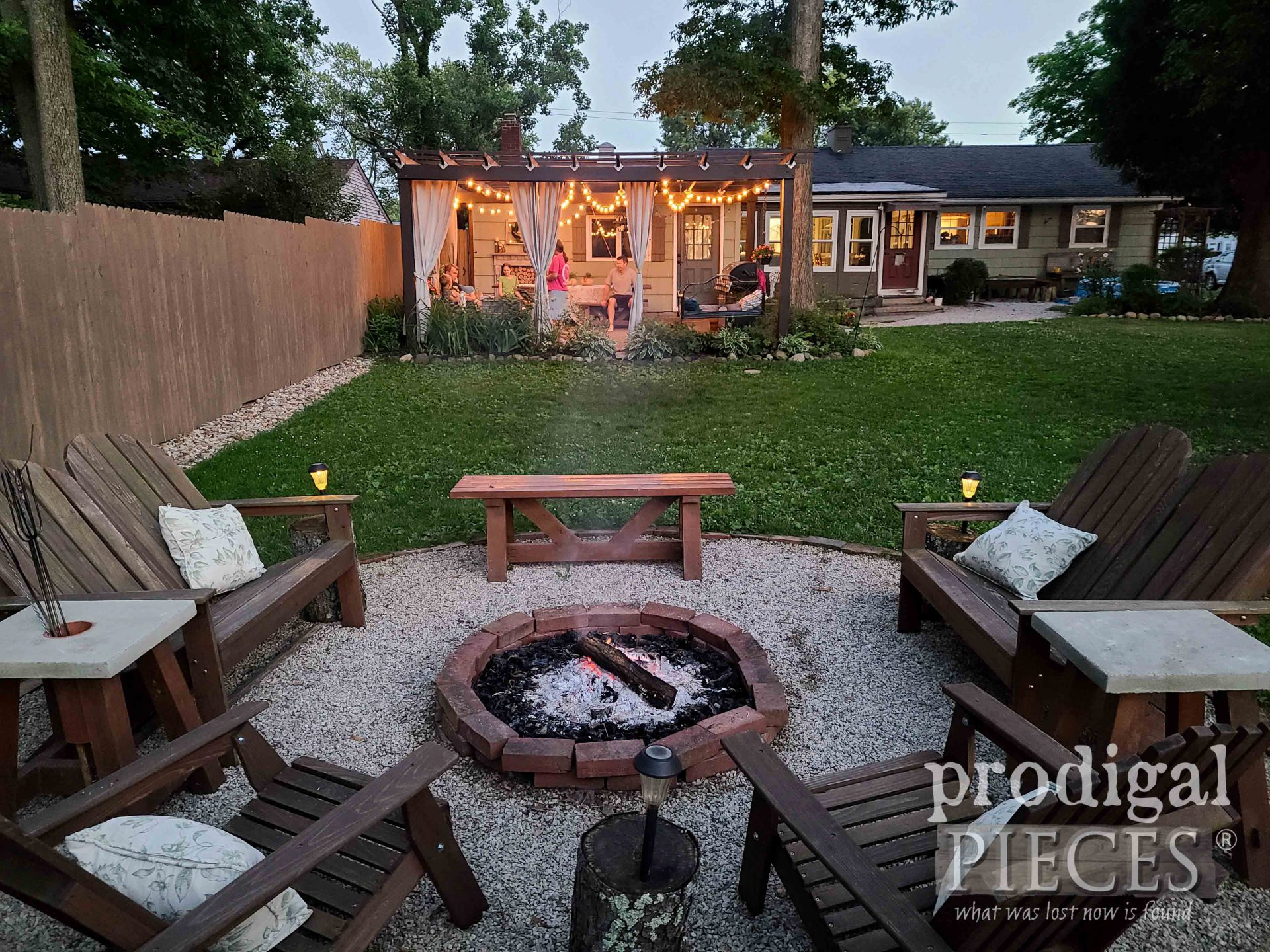 Fire Pit with DIY Patio & Pergola by Prodigal Pieces | prodigalpieces.com #prodigalpieces #diy #home #homedecor #patio #backyard