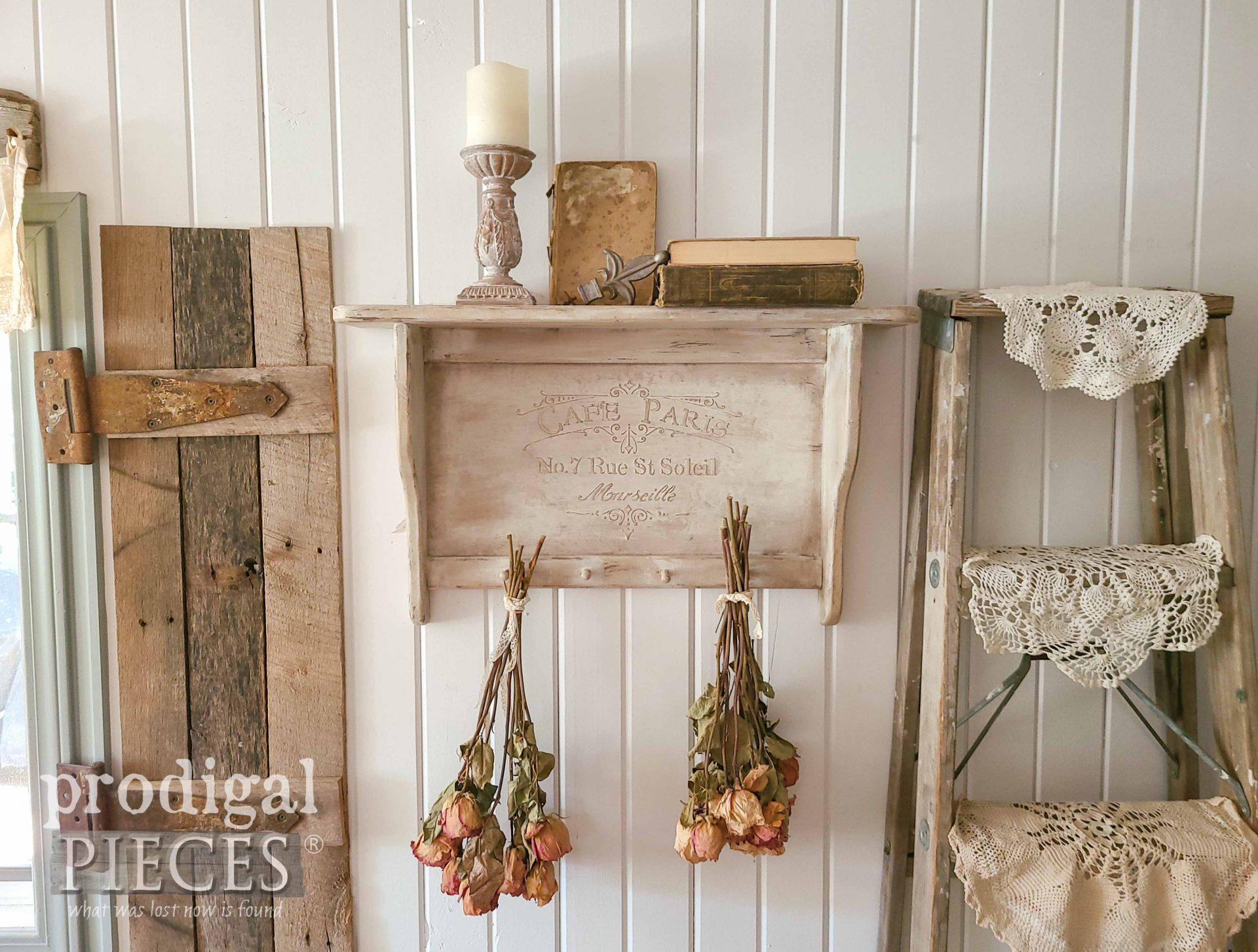 DIY Embossing Video Tutorial with Vintage Shelf Update by Larissa of Prodigal Pieces | prodigalpieces.com #prodigalpieces #home #homedecor