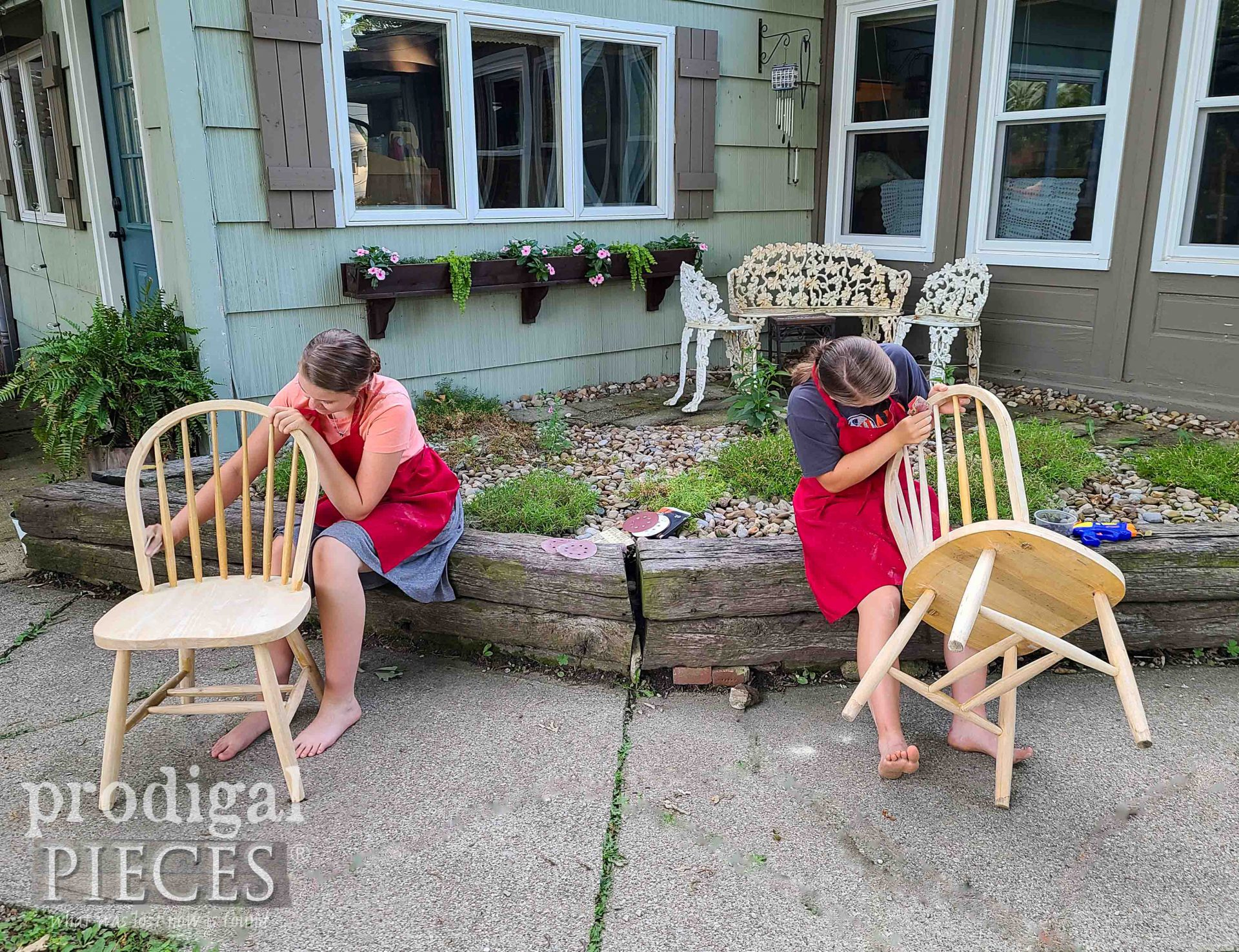 Girls Helping Mom with Furniture Makeover | prodigalpieces