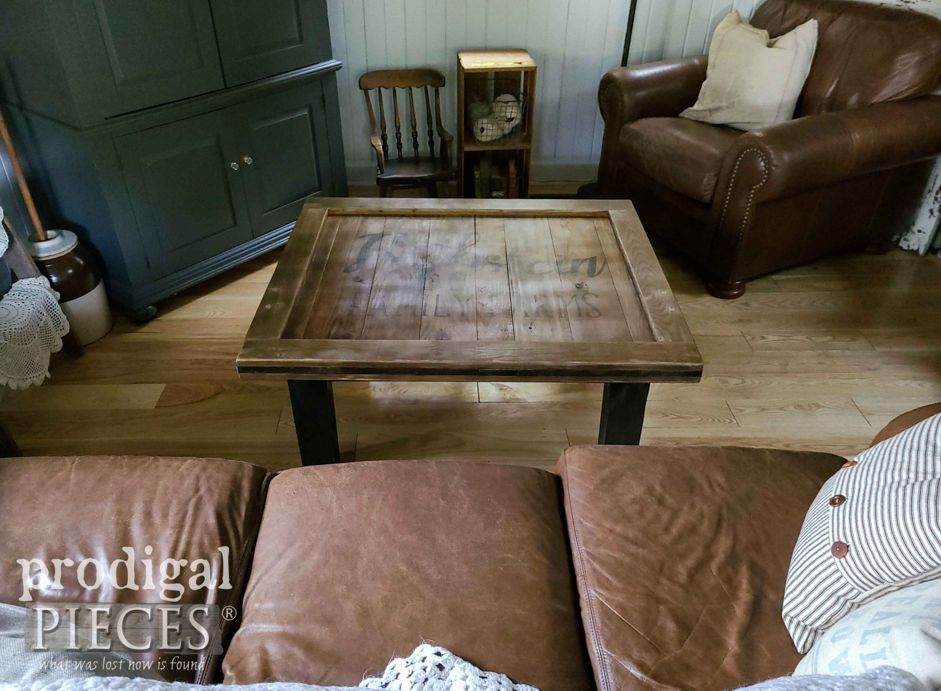 Handmade Farmhouse Coffee Table built from reclaimed wood by Larissa of Prodigal Pieces   prodigalpieces.com #prodigalpieces #furniture #home #homedecor #livingroom #diy