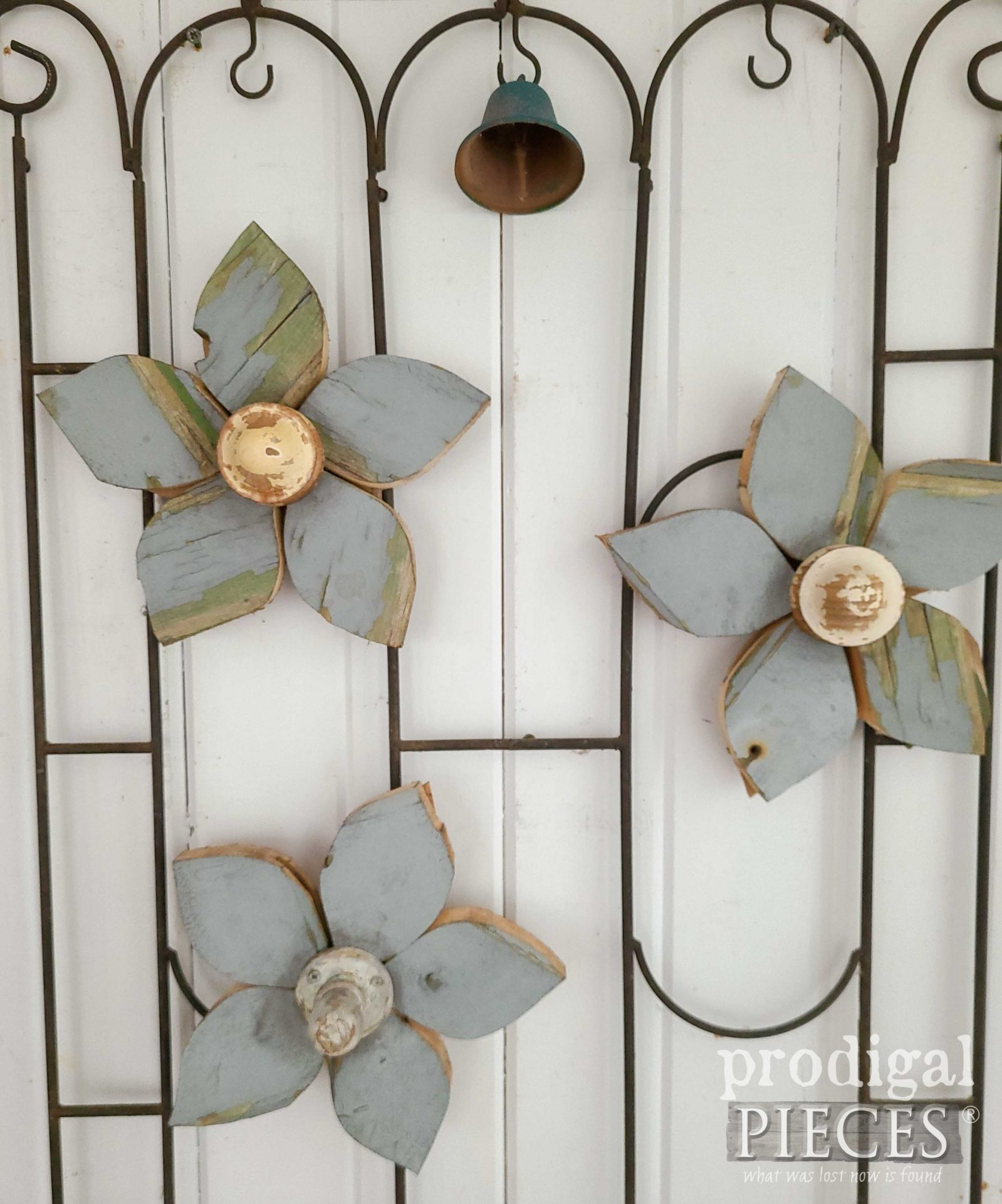 Handmade Wood Flowers on Salvaged Garden Art by Larissa of Prodigal Pieces | prodigalpieces.com #prodigalpieces #art #home #homedecor #farmhouse
