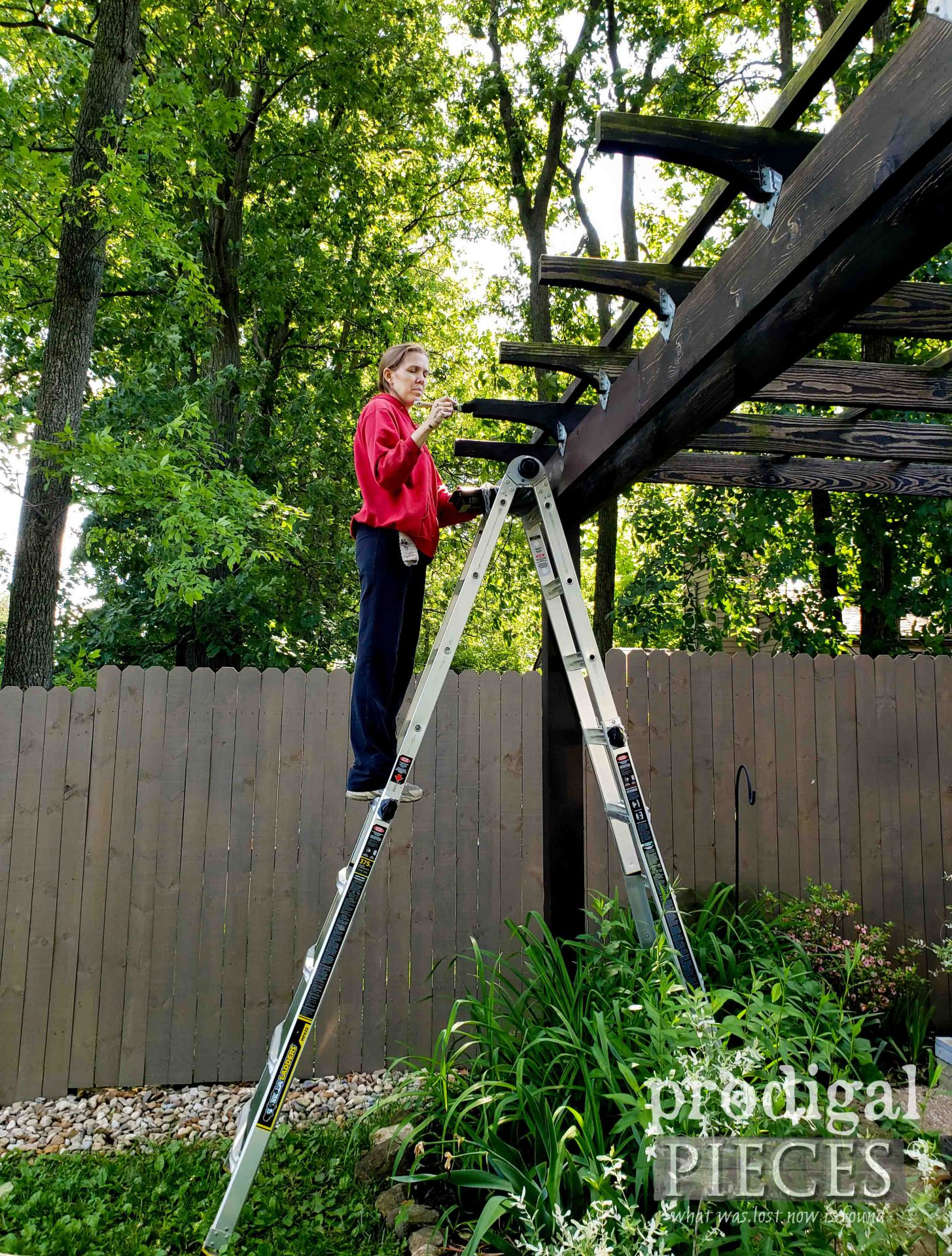 Folding Extension Step Ladder for Staining DIY Patio & Pergola Update by Prodigal Pieces | prodigalpieces.com #prodigalpieces