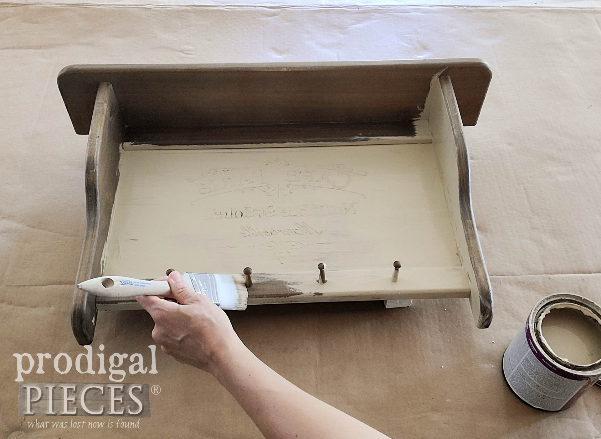 Painting First Coat on Vintage Shelf by Prodigal Pieces | prodigalpieces.com