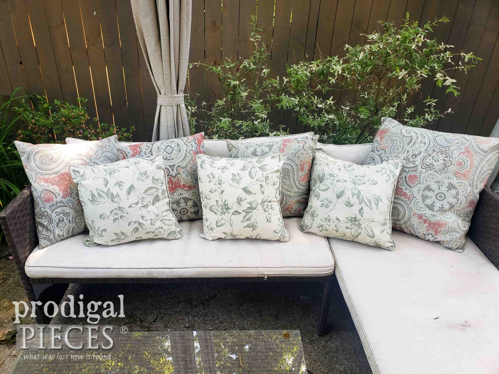 Patio Sectional Couch Before Update | prodigalpieces.com #prodigalpieces