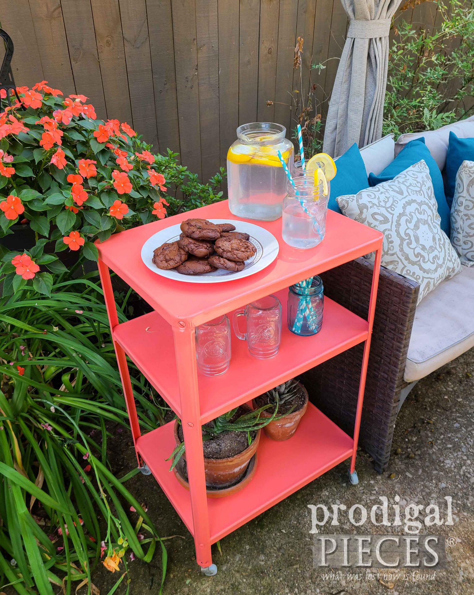 Pink Coral Serving Cart Makeover by Larissa of Prodigal Pieces | prodigalpieces.com #prodigalpieces #vintage #patio #entertaining #home #homedecor