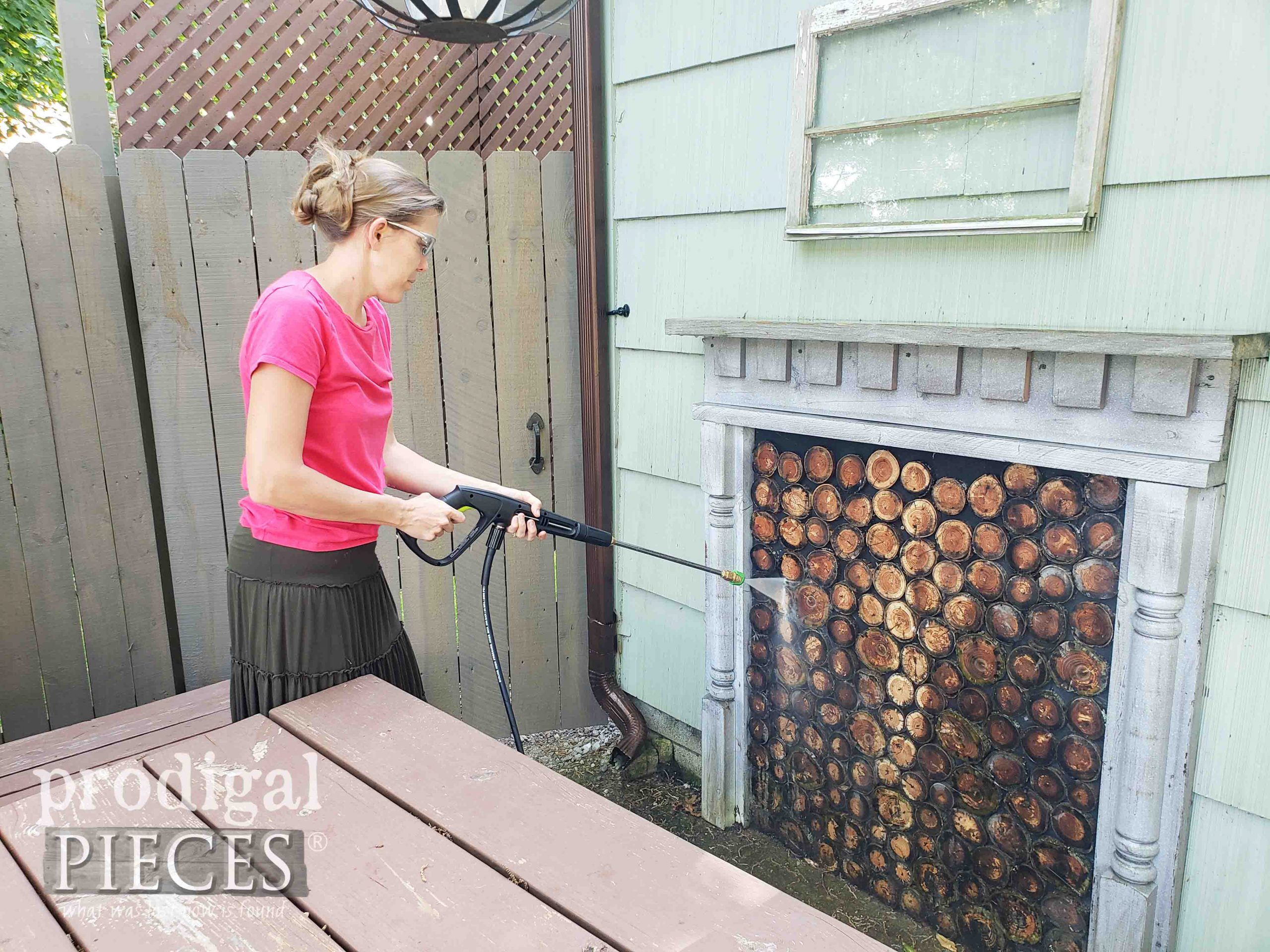 Pressure-Washing Faux Fireplace with Sun Joe Pressure Washer by Larissa of Prodigal Pieces | prodigalpieces.com #prodigalpieces