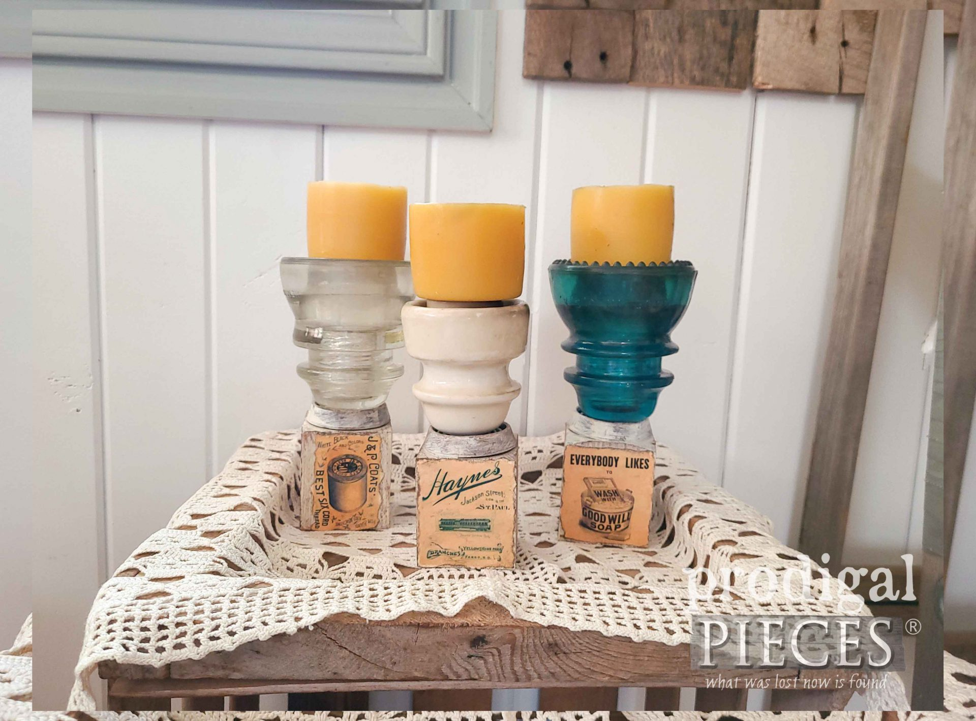 Reclaimed Candle Holders Using Antique Insulators by Larissa of Prodigal Pieces | prodigalpieces.com #prodigalpieces #reclaimed #home #farmhouse #homedecor
