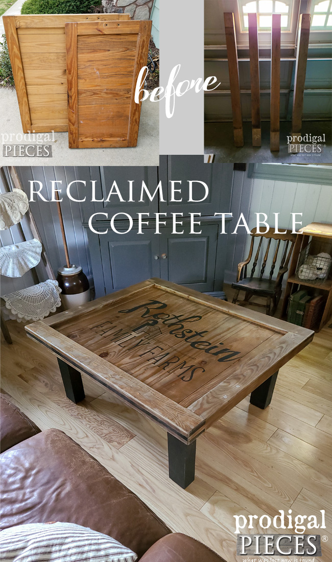 This reclaimed coffee table is made from curbside finds, including an antique upright grand piano. See the DIY details at Prodigal Pieces   prodigalpieces.com #prodigalpieces #farmhouse #furniture #diy #woodworking #reclaimed #furniture #home #homedecor