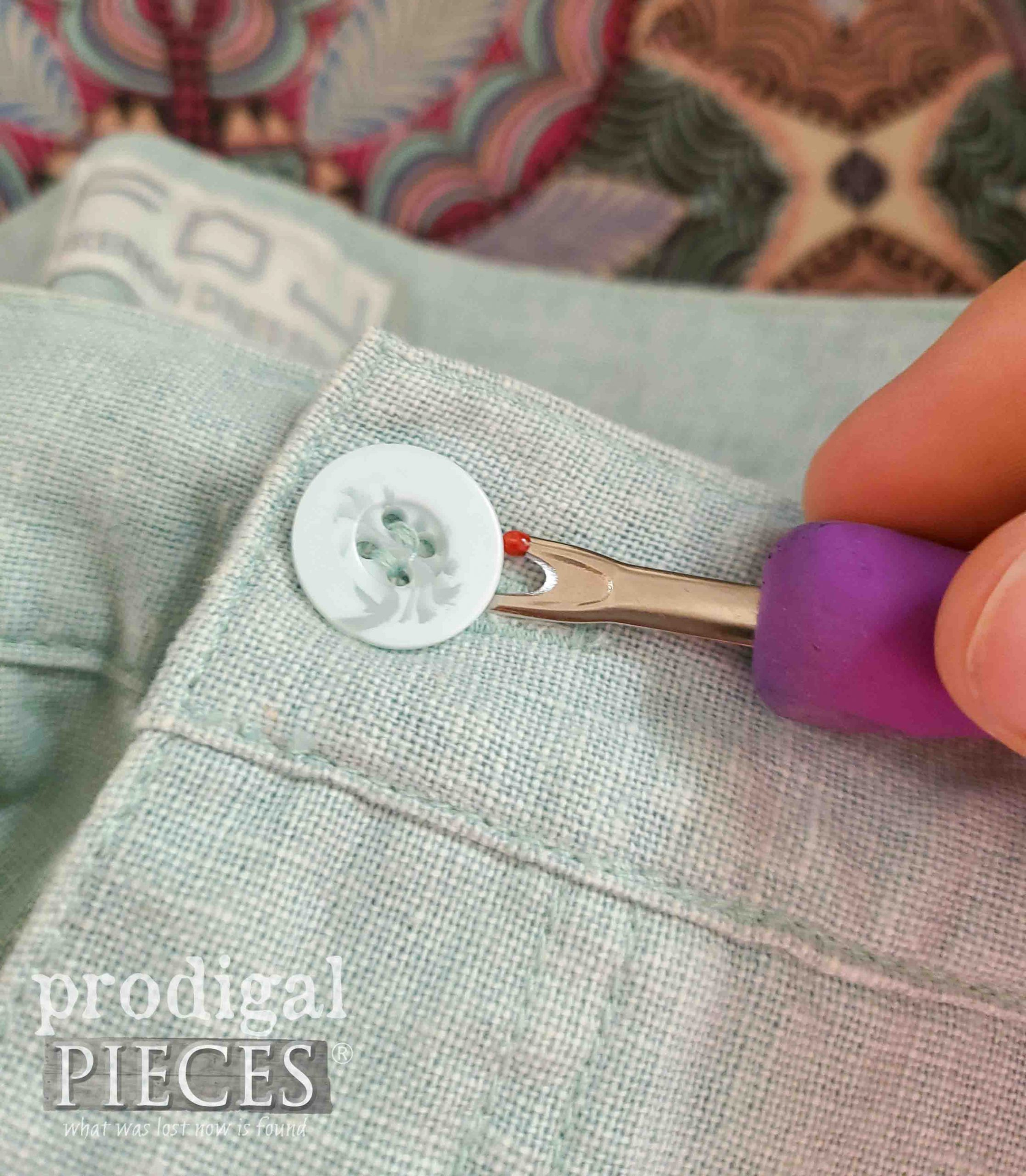 Removing Button from Linen Pants | prodigalpieces.com