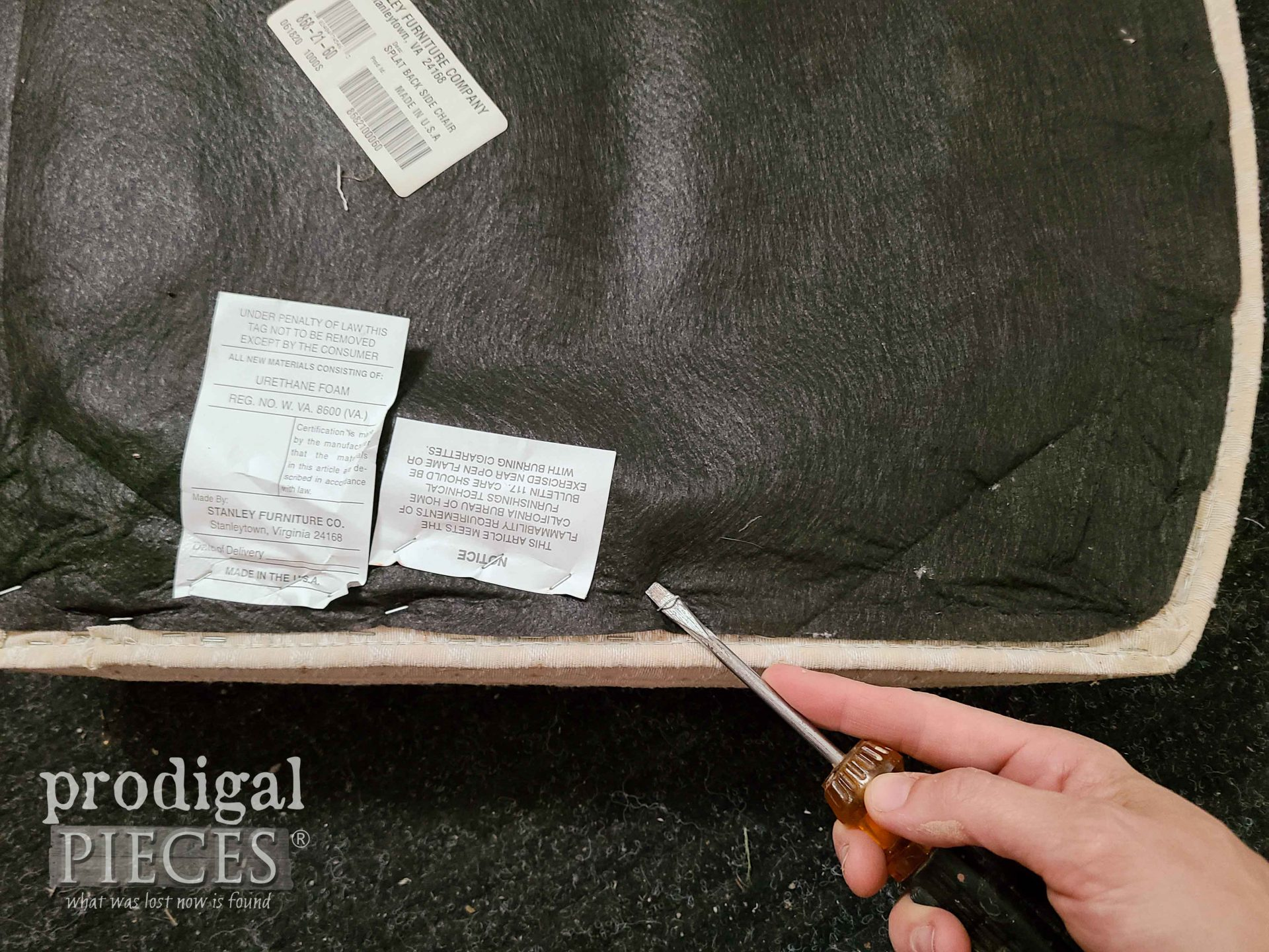 Removing Staples from Chair Dust Cloth   prodigalpieces.com