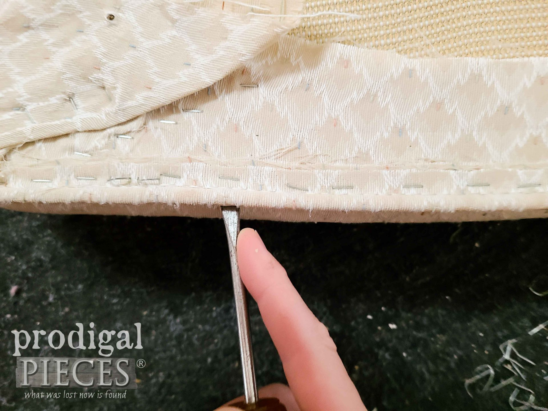 Removing Welting from Upholstered Chair | prodigalpieces.com
